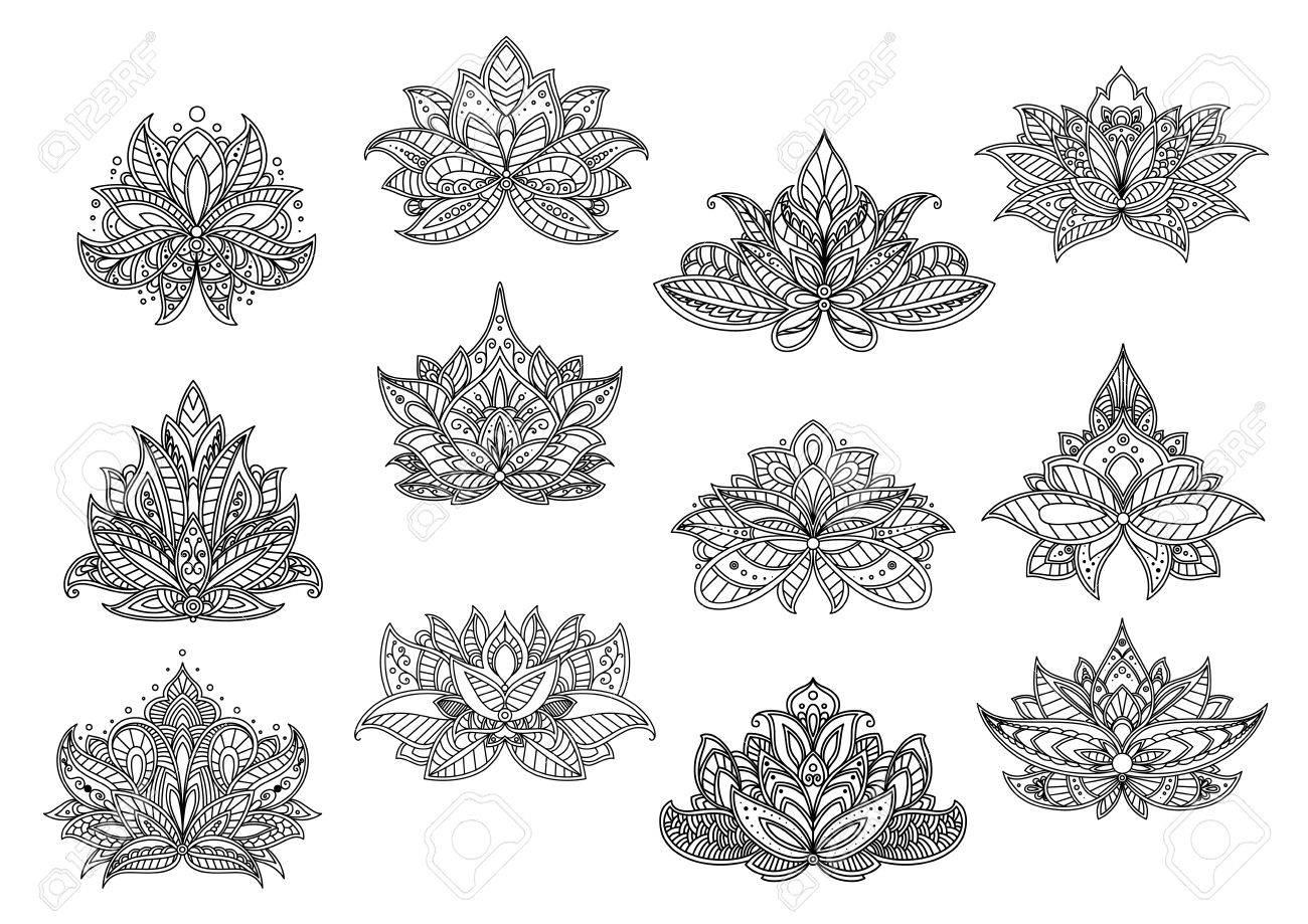 Elegant Paisley Flowers For Oriental Carpet Or Tile Design With ...