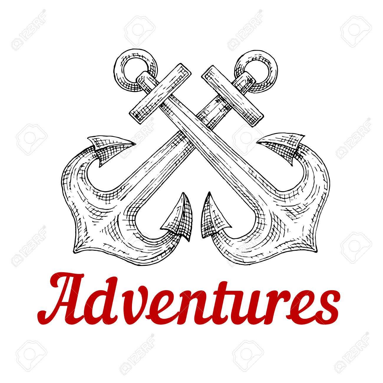 Símbolo Marino Con Las Anclas De Barco Cruzados Dibujo Vectorial