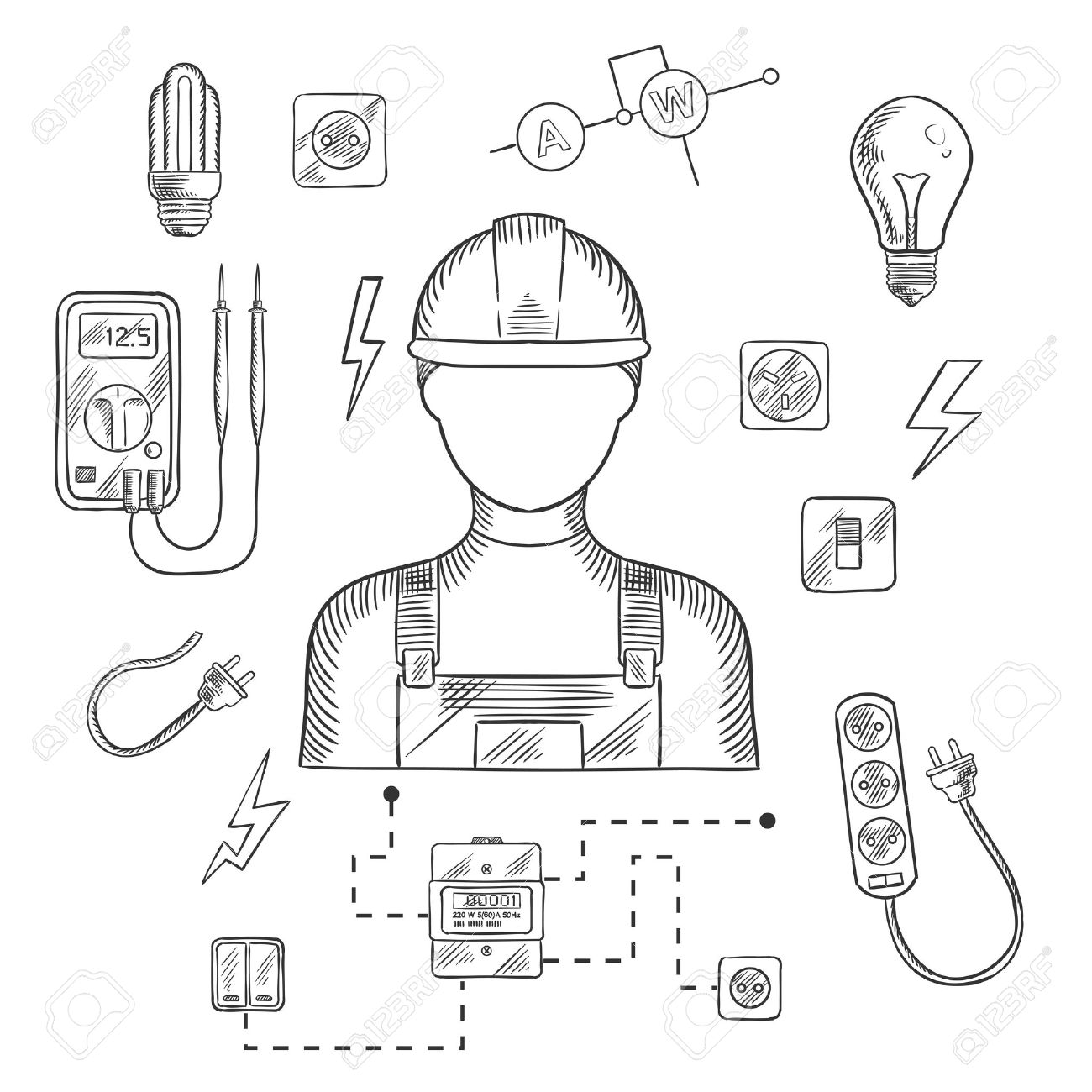 Electrician Man In Hard Hat With Electrical Household Supplies