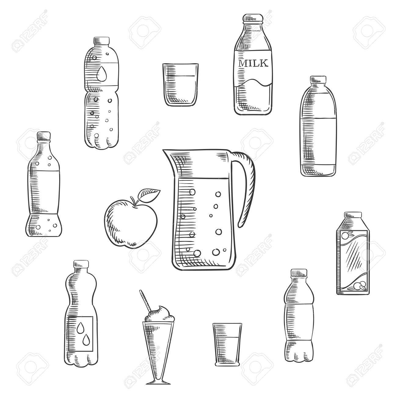 Non Alcoholic Drinks And Beverages Sketches Set Pitcher And Fresh Royalty Free Cliparts Vectors And Stock Illustration Image 51677146