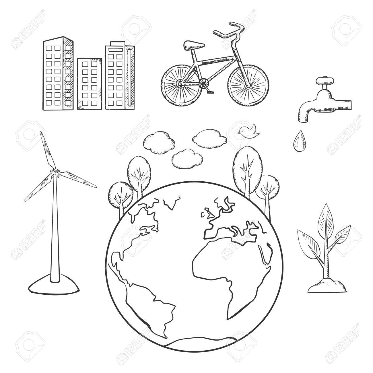 Eco friendly city green energy and natural resources protection eco friendly city green energy and natural resources protection sketched icons environment and ecology buycottarizona