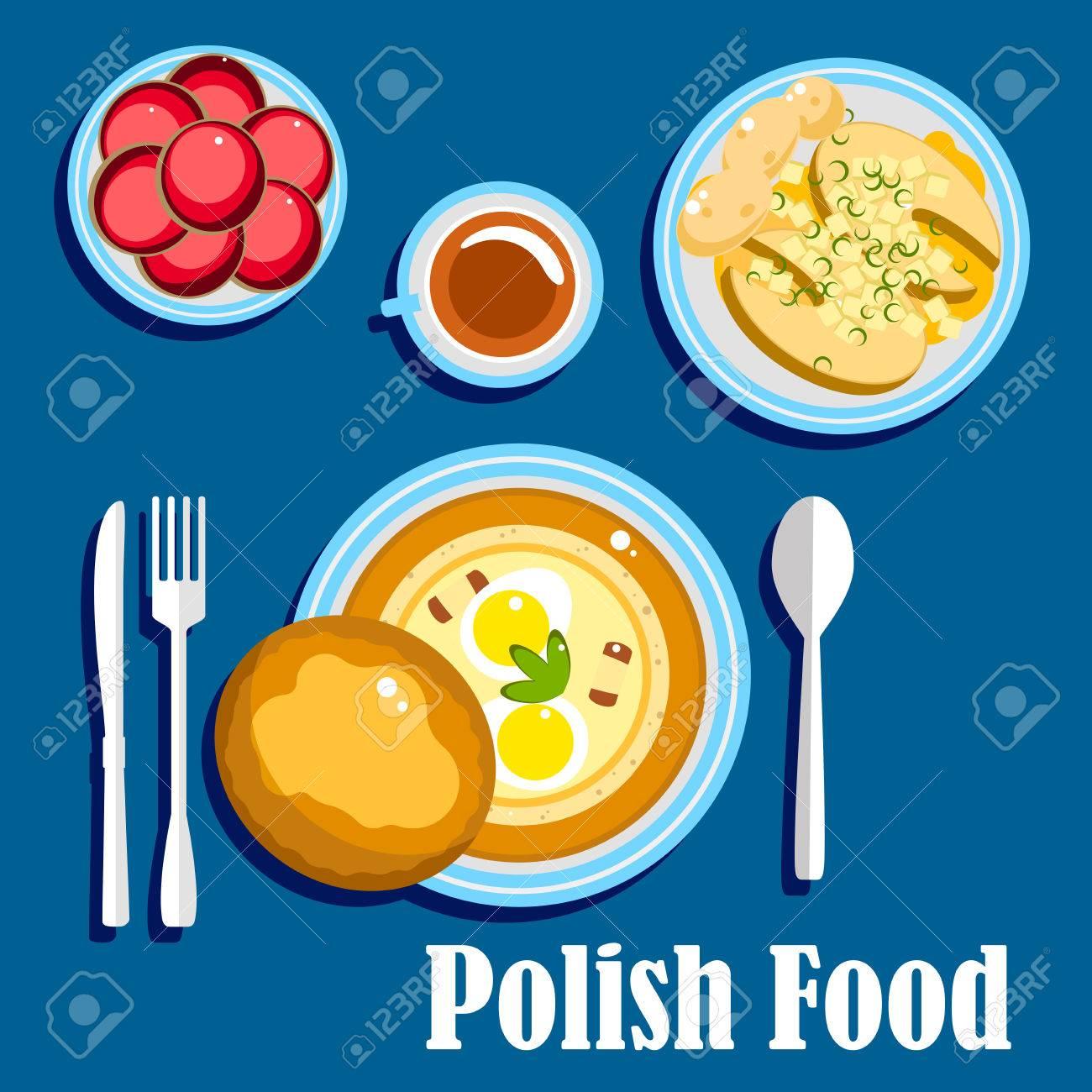 Traditionelle Polnische Küche Essen Mit Hartgekochten Eiern Und Brot ...