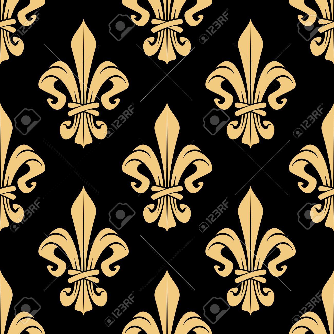 Or Fleurs De Lys Héraldiques Seamless Papier Peint Classique Ou De