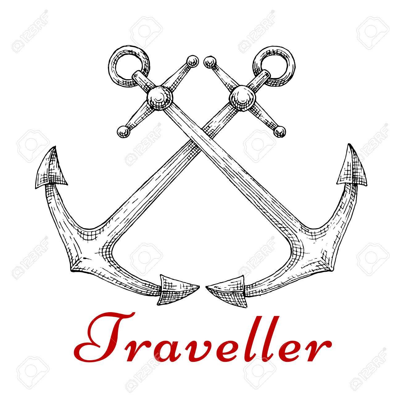 Marine traveler symbol with crossed old fashioned nautical anchors marine traveler symbol with crossed old fashioned nautical anchors sketch style may be used buycottarizona