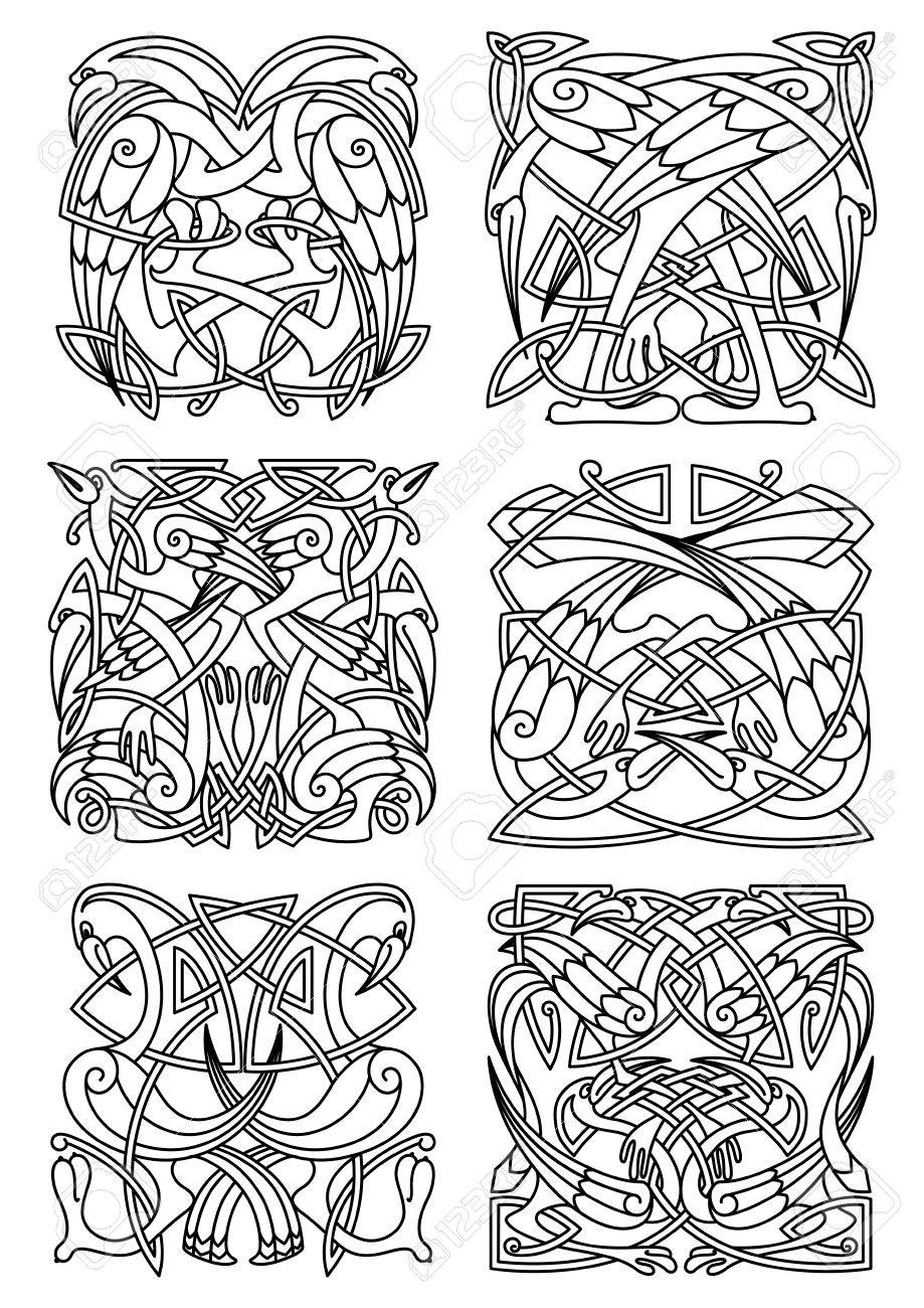 Heron Stork And Crane Birds Ornaments Or Patterns For Celtic