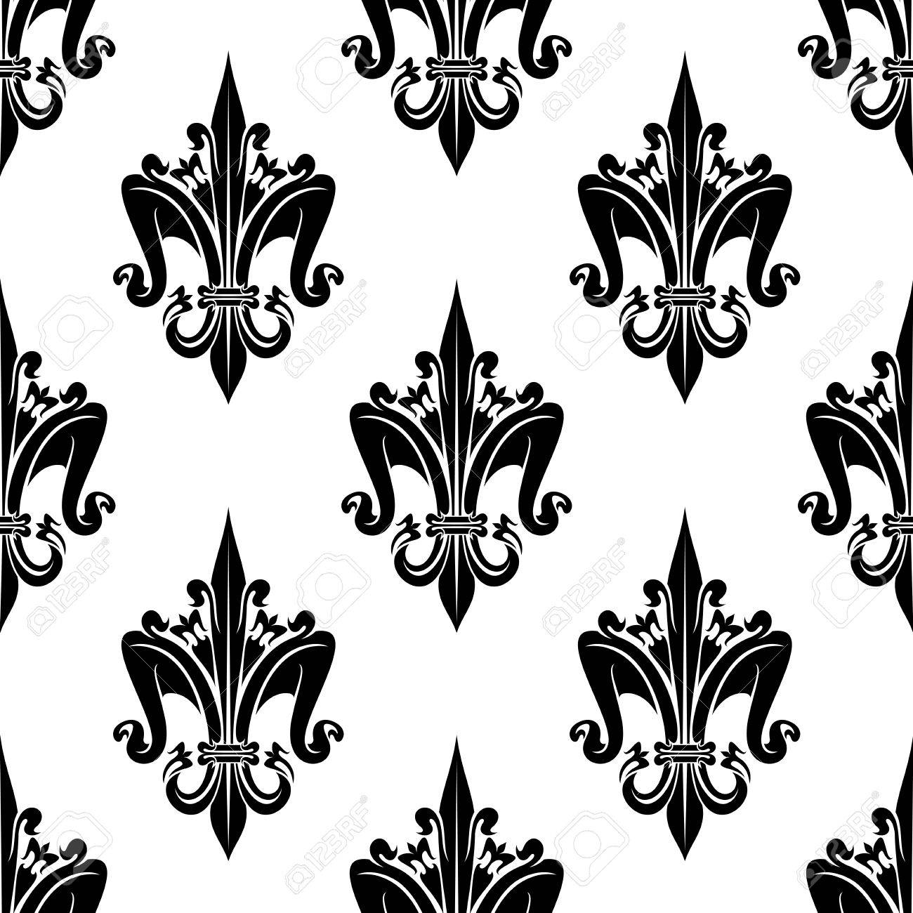 Black And White Seamless French Heraldic Decorative Floral Pattern