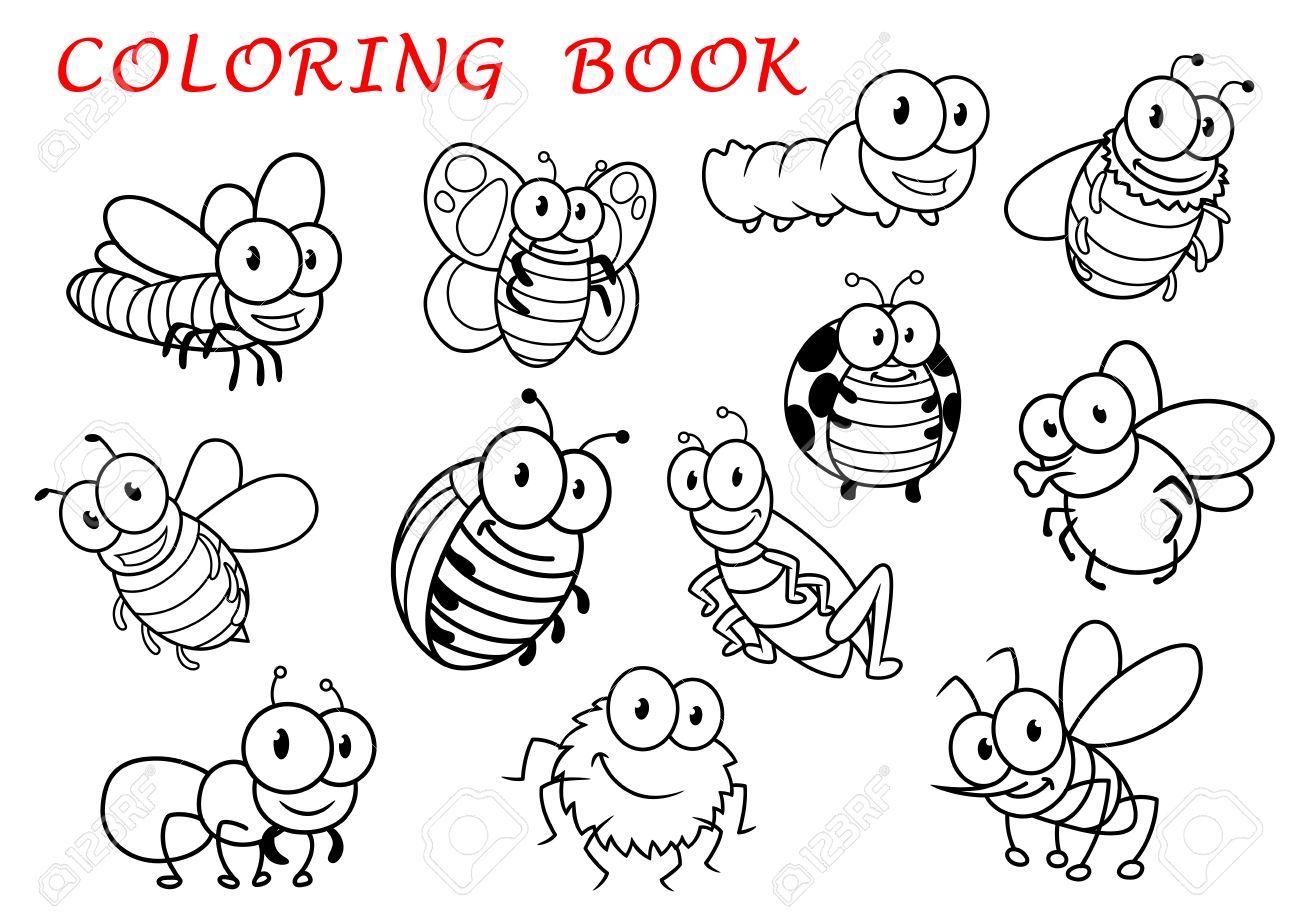 Aislado Animales Esquema De Insectos Personajes Con Mosca Y Libélula Mariposa Y El Mosquito La Oruga Y La Abeja La Araña Y La Avispa Mariquita Y