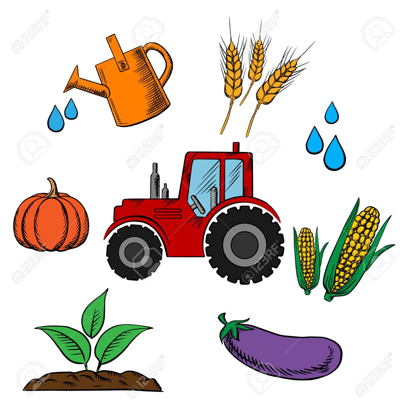 Agriculture Industry And Farming Food Icons With Cartoon Tractor ...