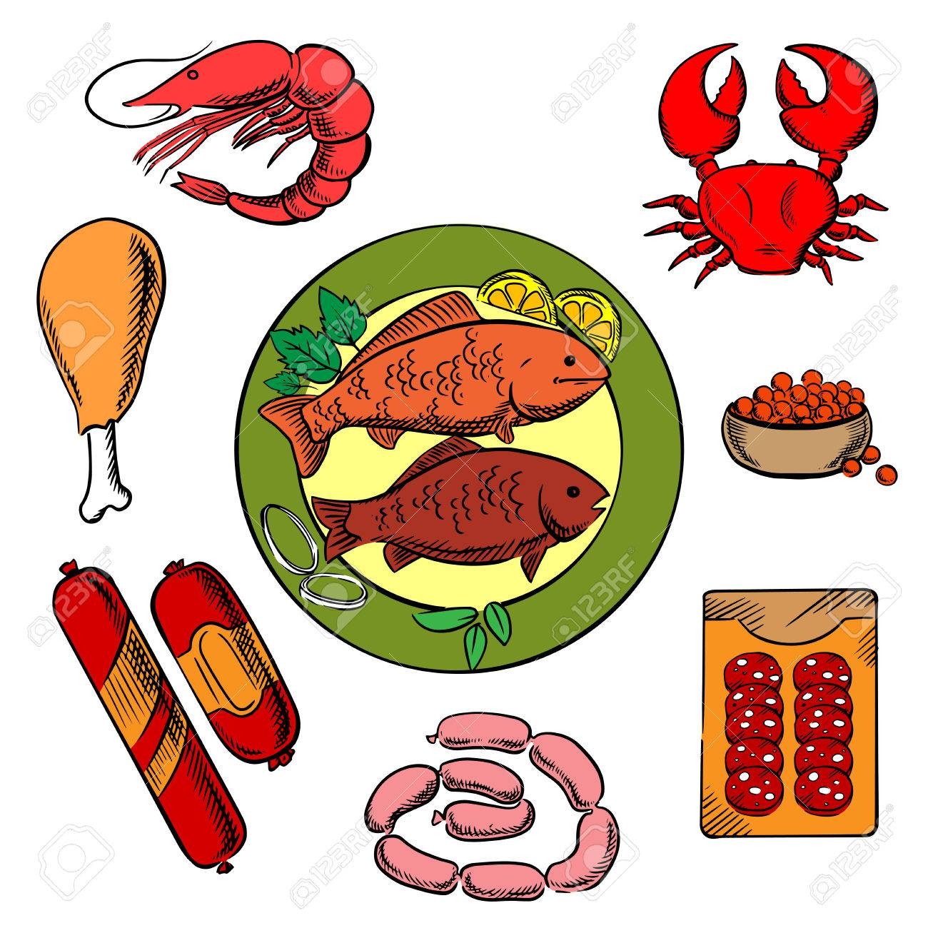 seafood chicken and meat food icons with fish crab prawn rh 123rf com Cheese Clip Art Steak Clip Art