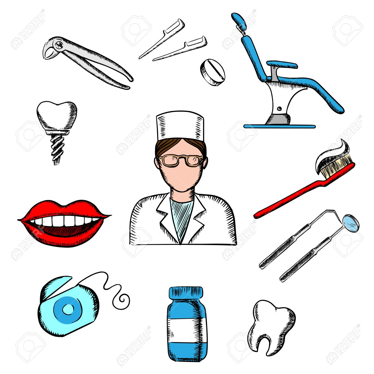 Dentistry Design With Female Dentist In Glasses And White Uniform Dental Equipment Hygiene Icons