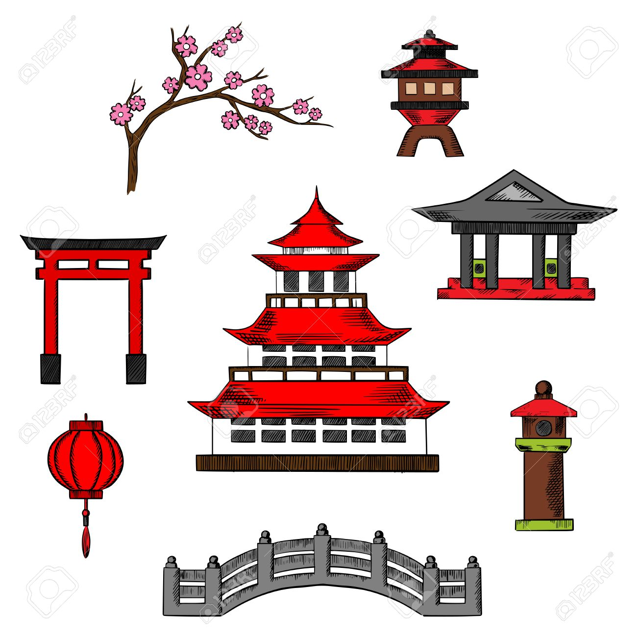 Japan Travel And Culture Icons Of Traditional Japanese Pagoda Royalty Free Cliparts Vectors And Stock Illustration Image 51857044