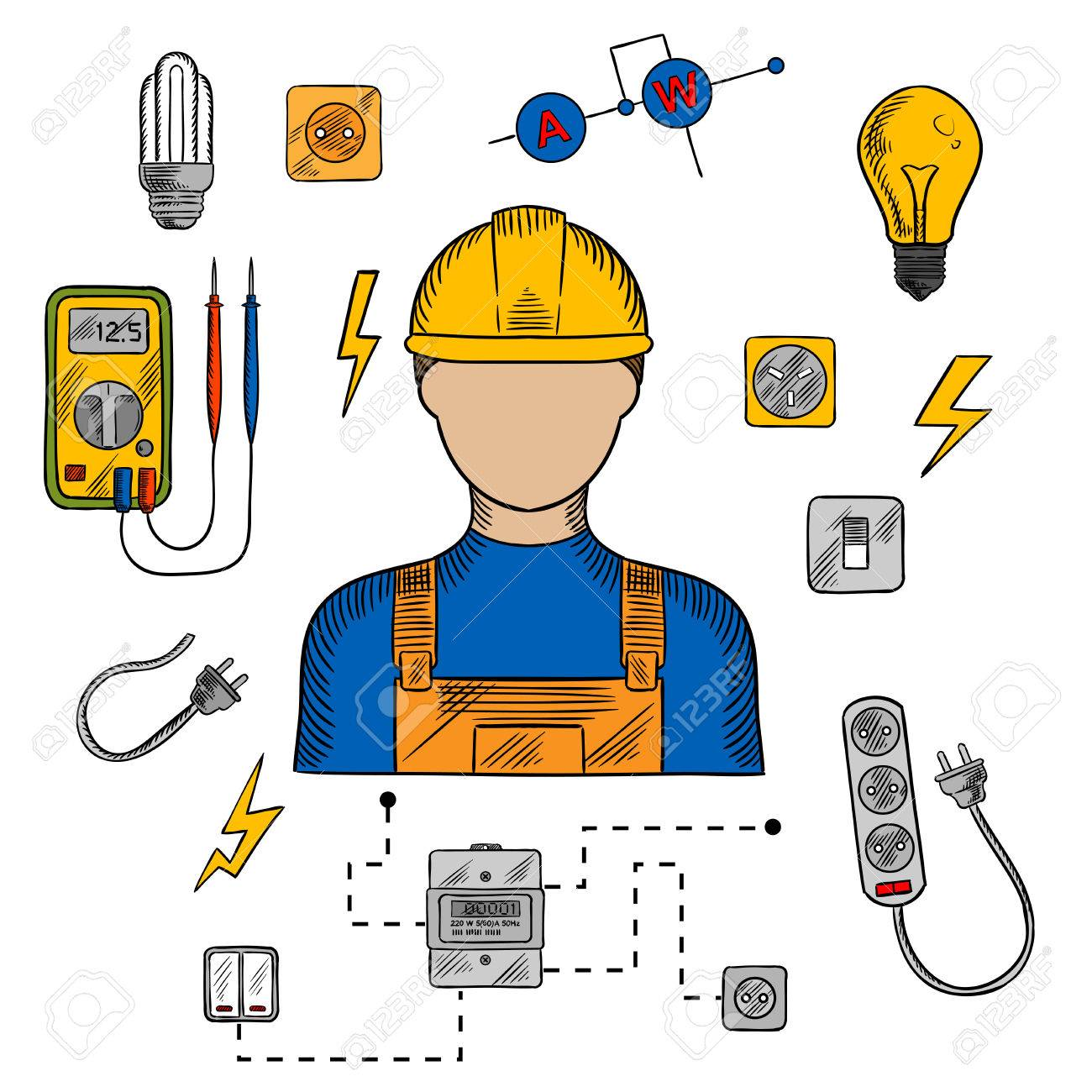 Electrician profession icons with electric man in yellow hard.. on basic electronic symbols, kitchen symbols, lighting symbols, residential electric symbols, residential drafting symbols, circuit symbols, heating and cooling symbols, carpentry symbols, electronic component symbols, household appliances, printable wiring diagram symbols, industrial wiring symbols, voice and data symbols, clothing symbols, tools symbols, bathroom symbols, residential wiring symbols, automotive symbols, wallpaper symbols, electronic schematic symbols,