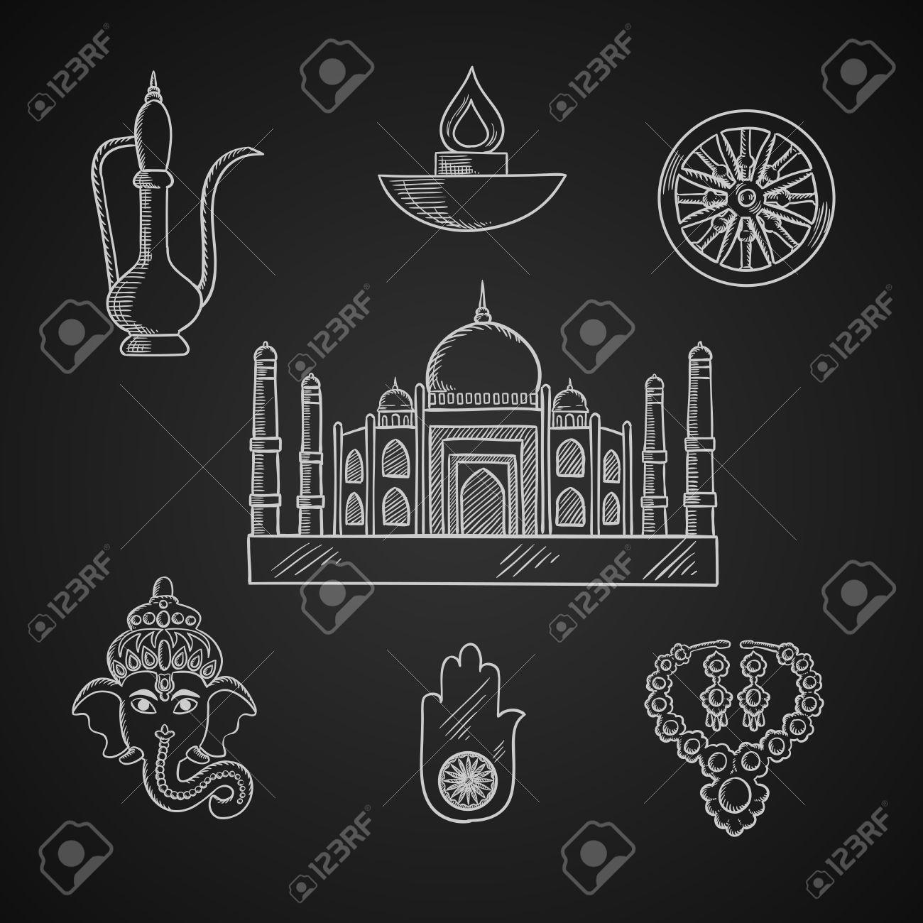 Indian Religion And Culture Symbols With Ganesha God Ashoka