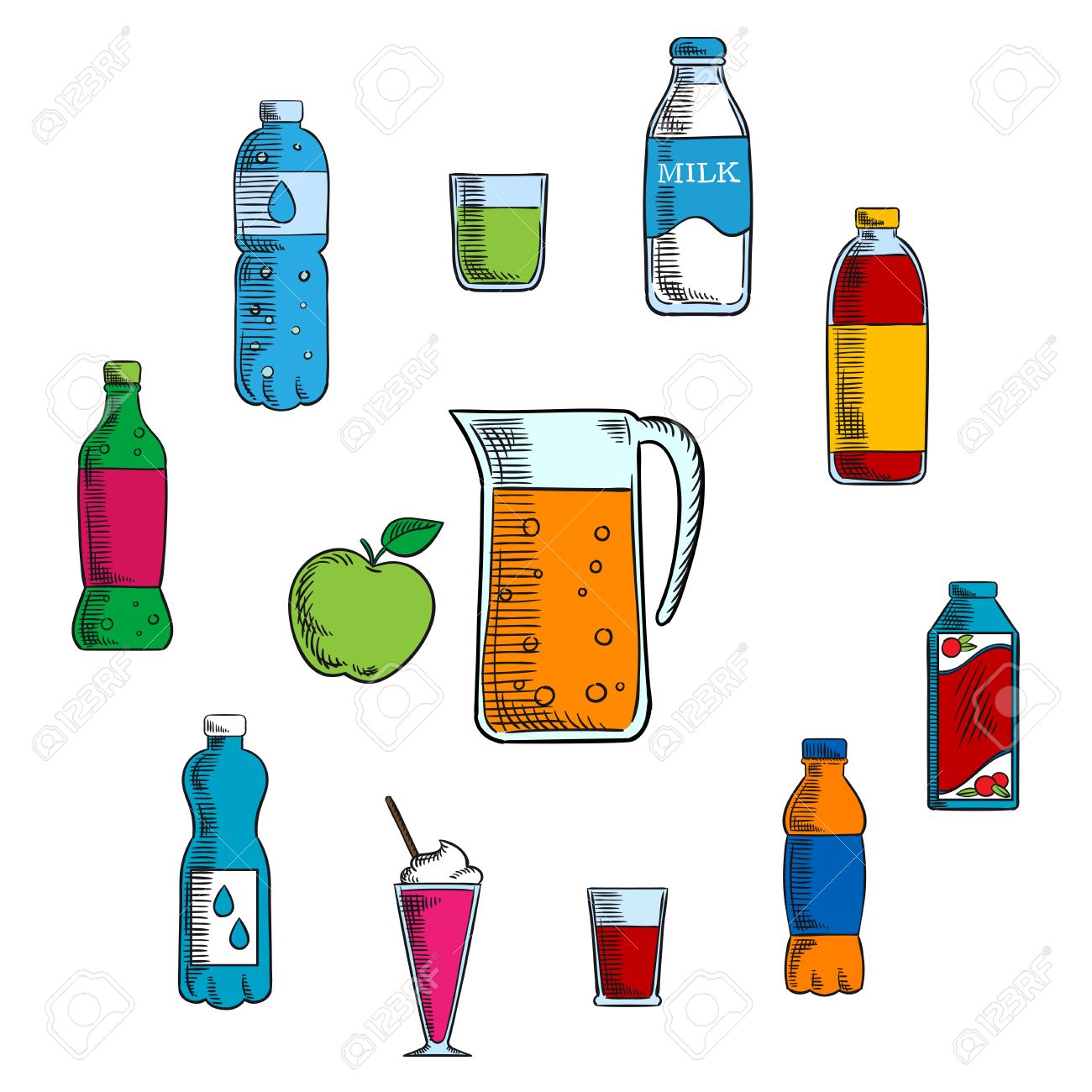Non Alcoholic Beverages And Drinks With Pitcher And Fresh Apple Royalty Free Cliparts Vectors And Stock Illustration Image 52089337