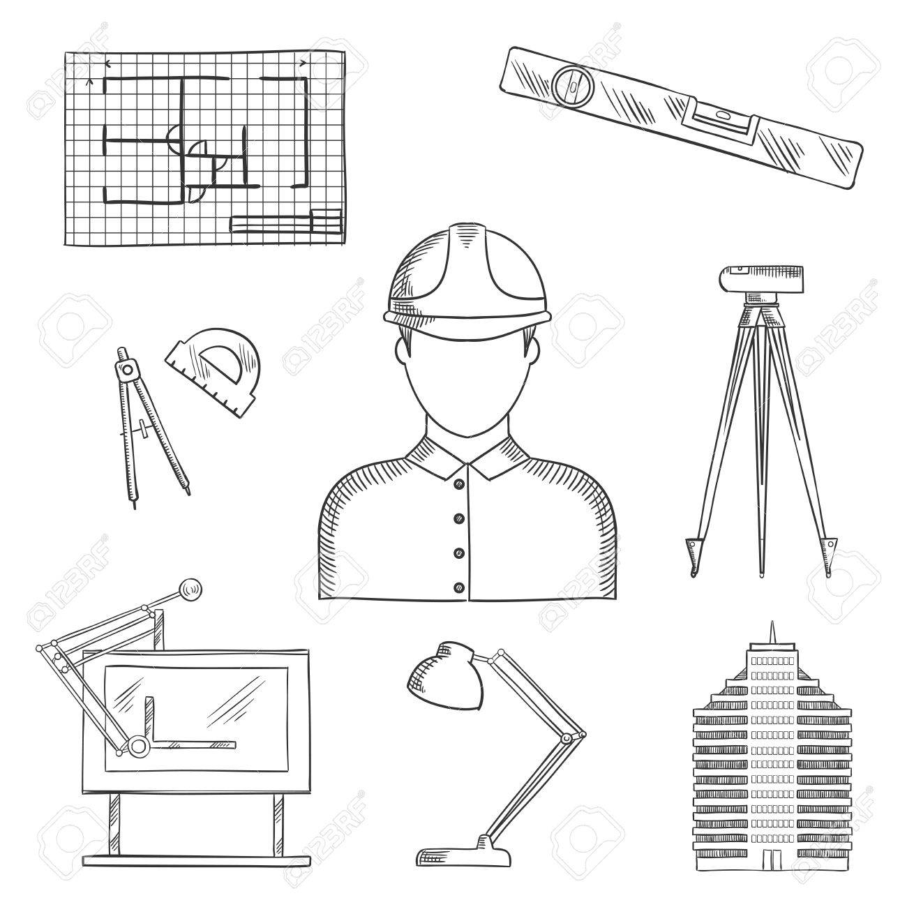 Architect and engineer profession icons with man in helmet building architect and engineer profession icons with man in helmet building and drawing table blueprint malvernweather Image collections