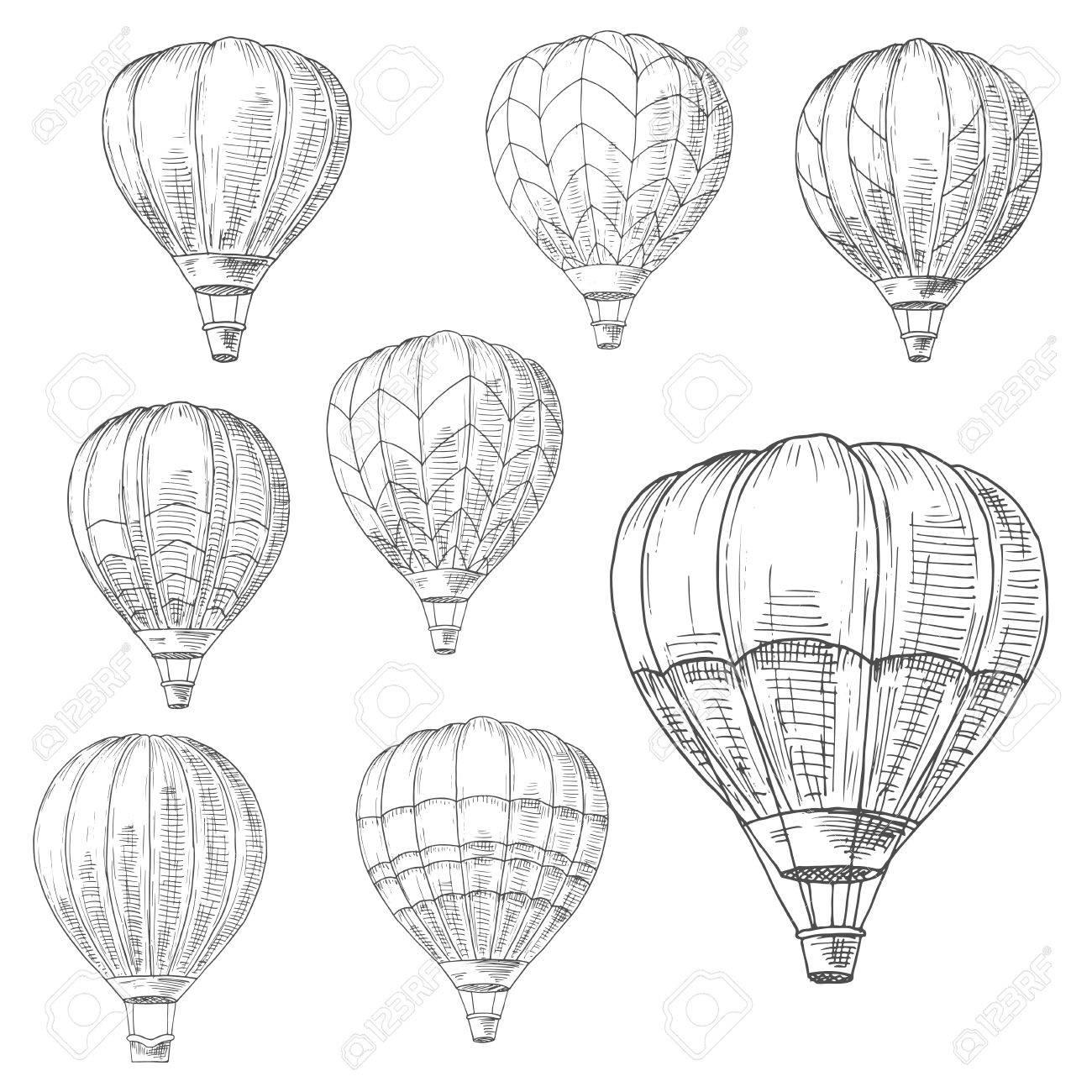 Heißluftballons Im Flug Mit Dekorativen Invertierten Tropfenförmigen ...
