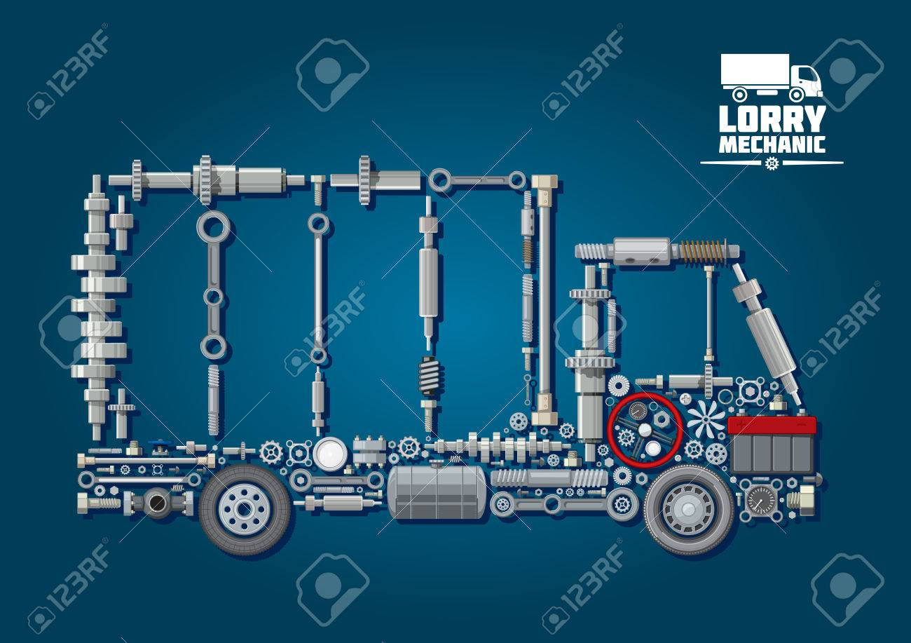 Mechanical engine parts arranged into silhouette of a truck with wheels, steering wheel, battery, speedometer and fasteners. For lorry mechanic or transportation service design - 52489777