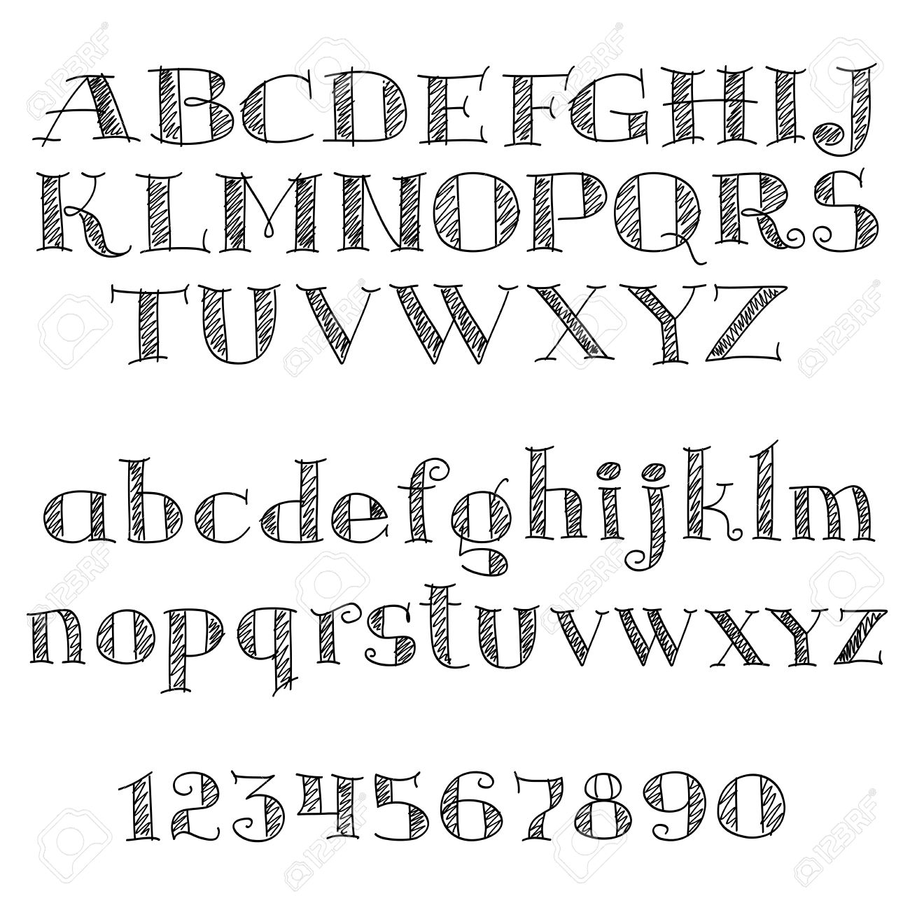 Alphabet Letters Font With Decorative CrossHatched Letters And