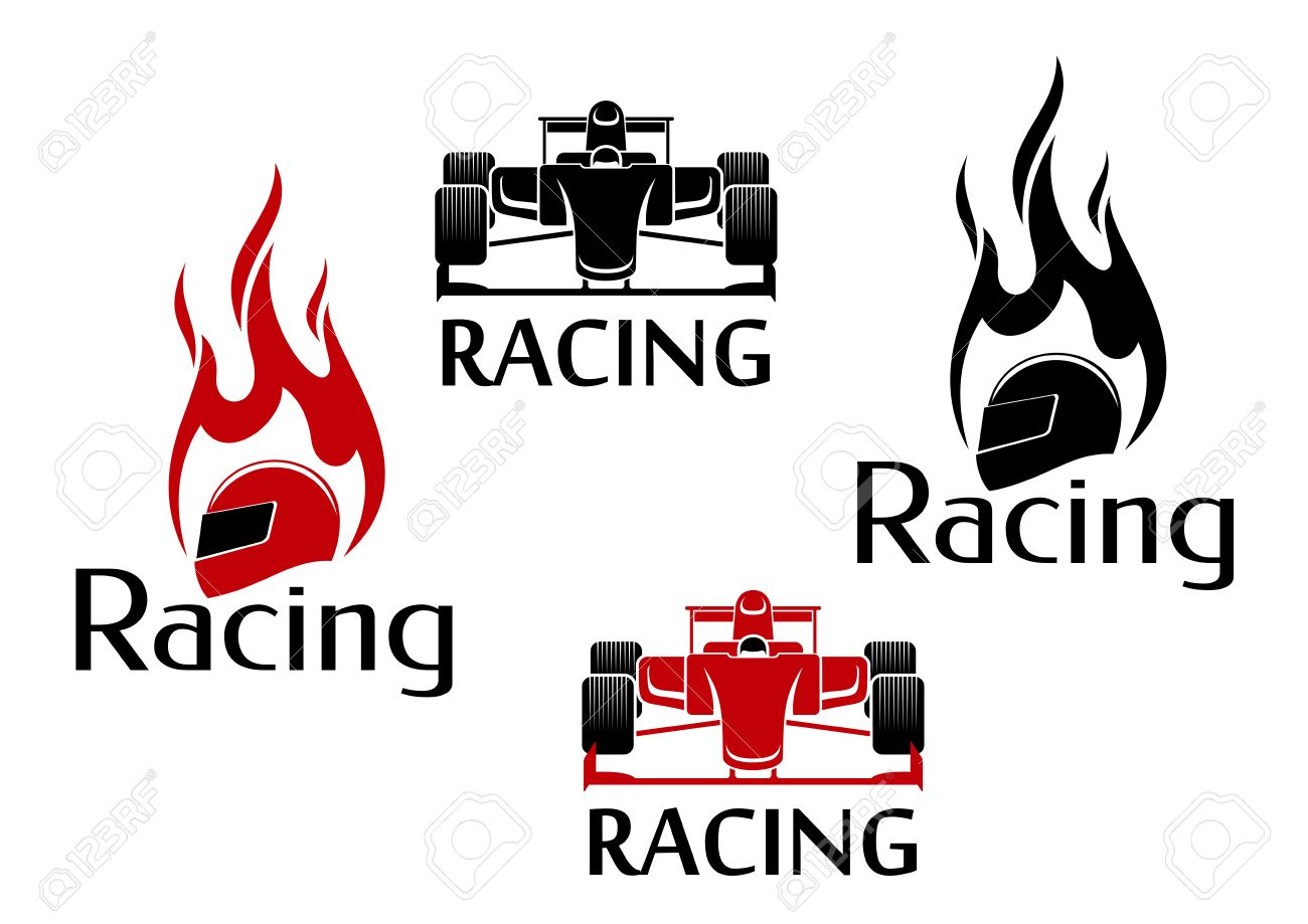 Car racing symbols in red and black colours for motorsport car racing symbols in red and black colours for motorsport competition design with open wheel racing biocorpaavc