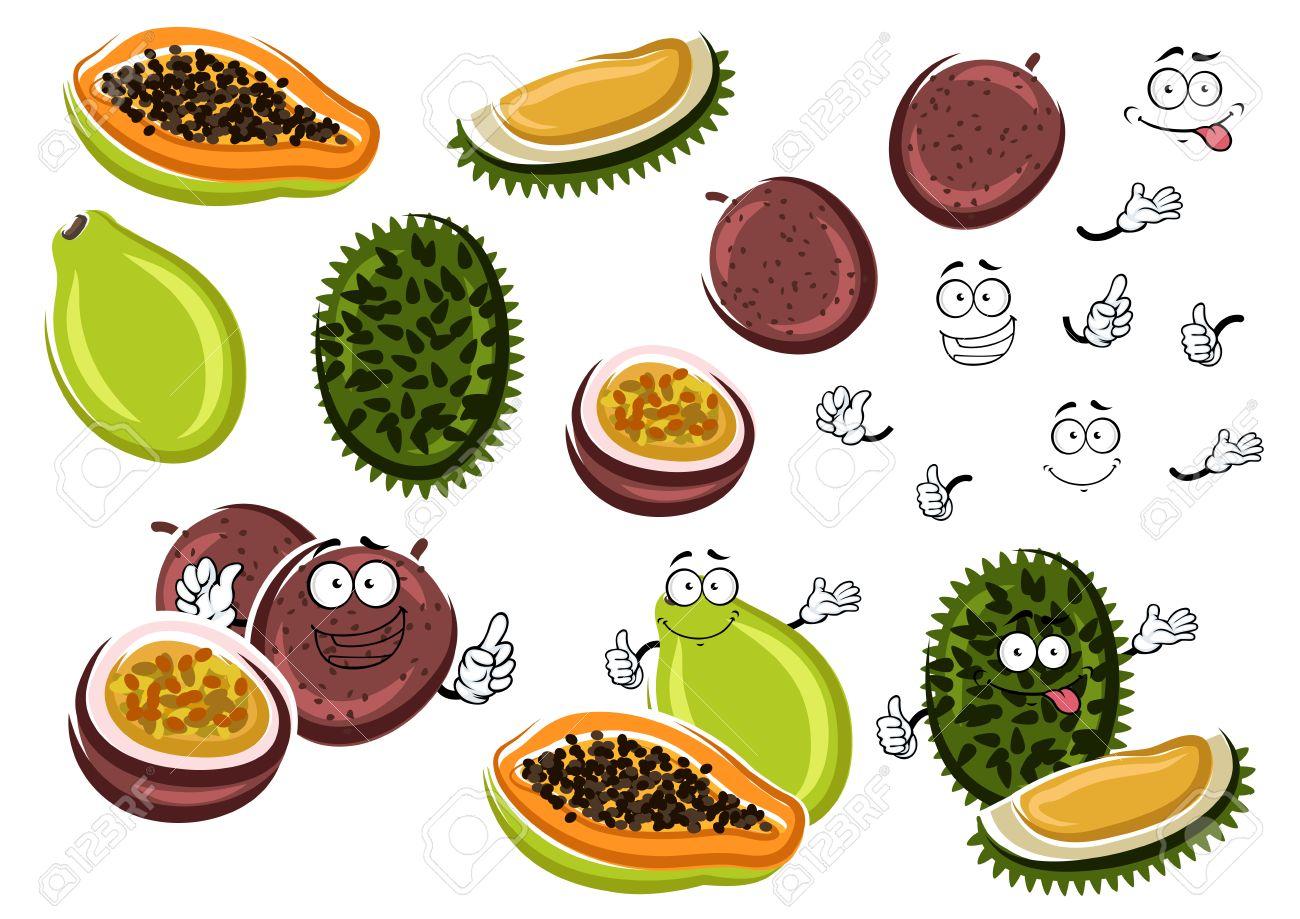 Cartoon Aroma Papaya Juice Maracuja And Smelly Durian Fruits