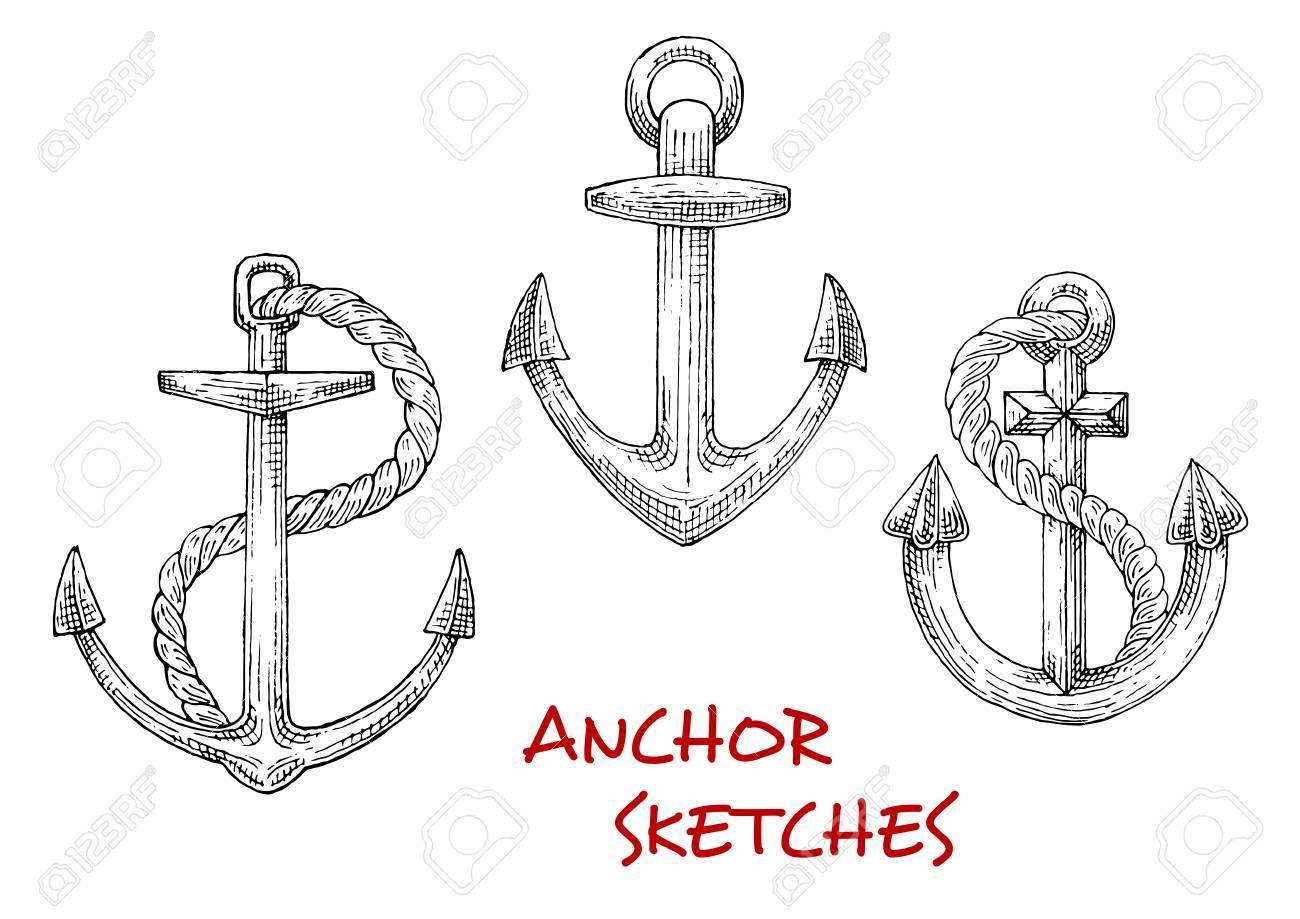 Old marine anchors isolated sketches of large stocked anchors old marine anchors isolated sketches of large stocked anchors with twisted ropes may be used buycottarizona