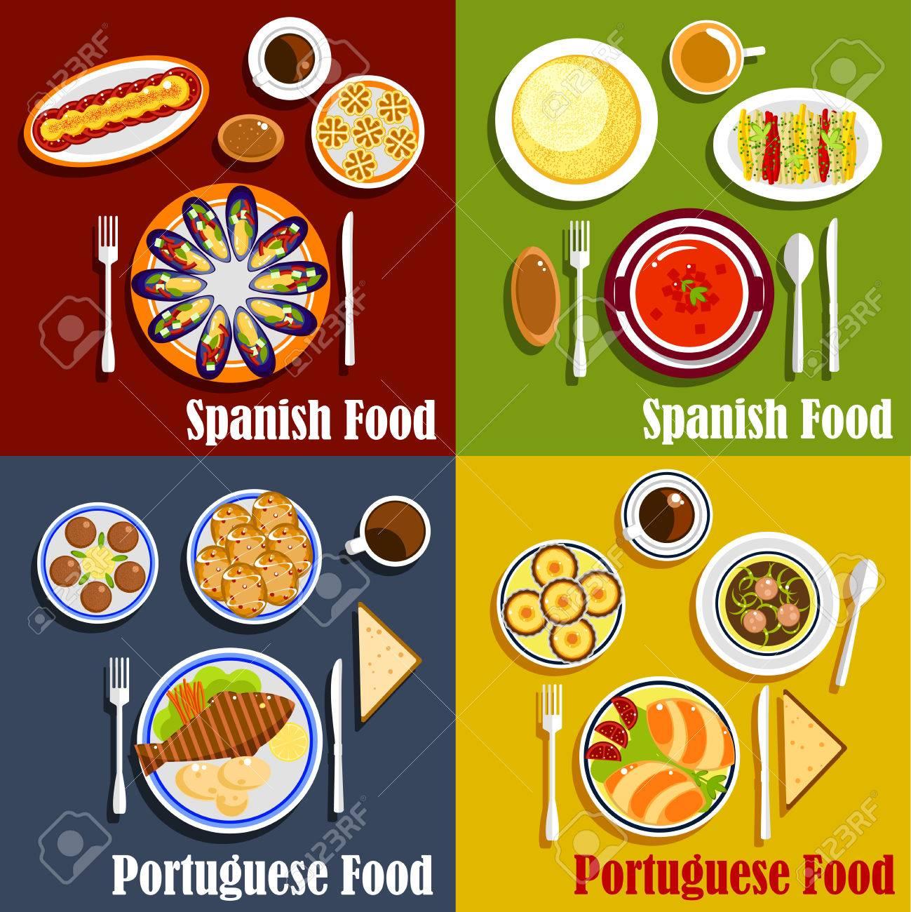 Cocina Mediterránea Con El Icono Plana Español Gazpacho, Mejillones ...