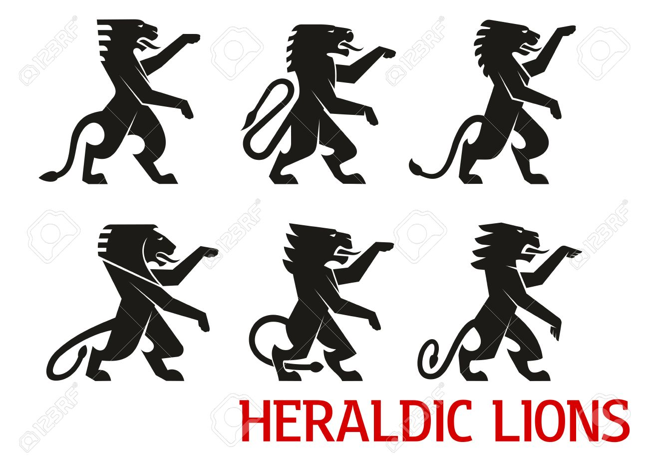 Medieval heraldic lion symbols with black silhouettes of standing medieval heraldic lion symbols with black silhouettes of standing lions with raised forepaws heraldry theme biocorpaavc Gallery