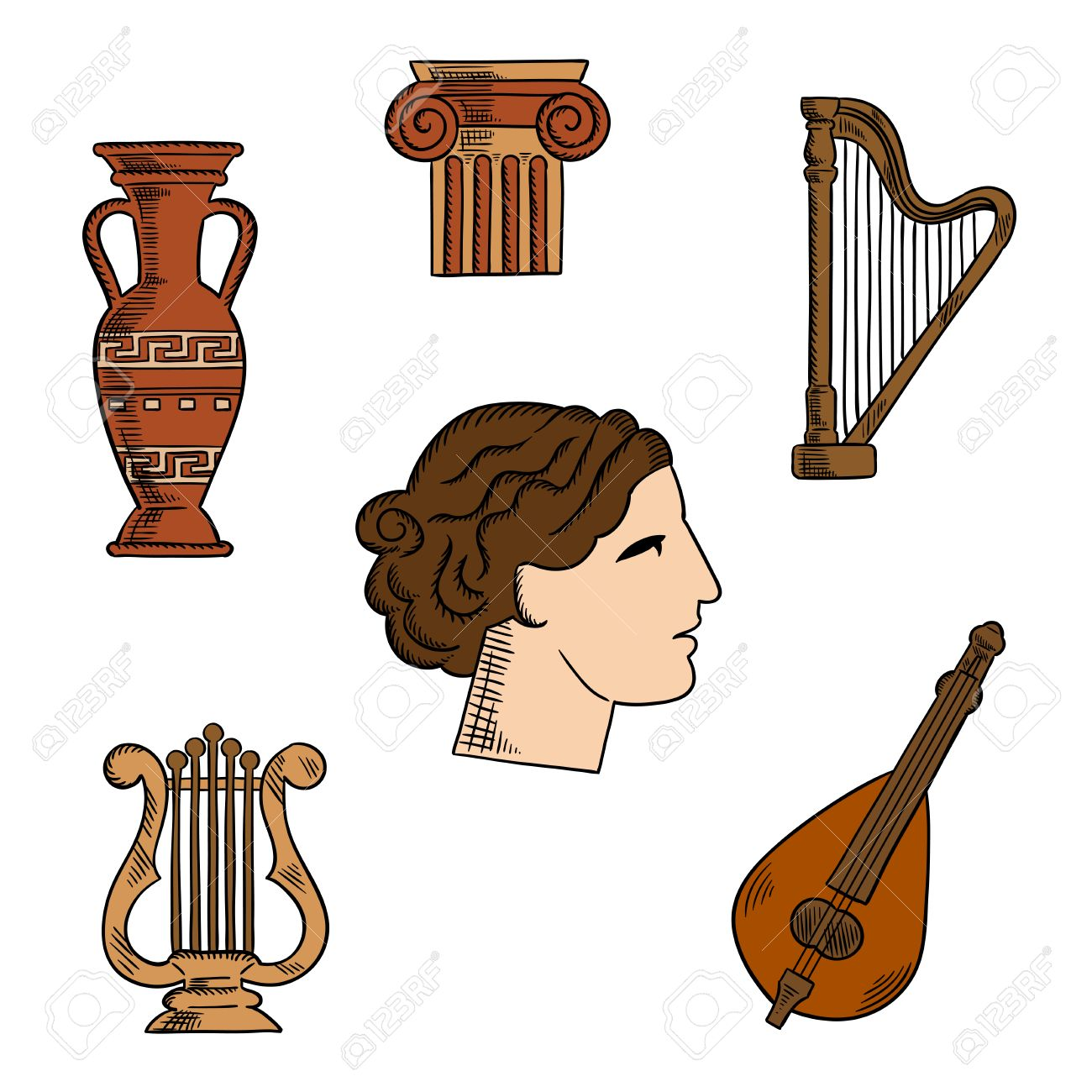 Architecture music and art symbols of ancient greece with profile architecture music and art symbols of ancient greece with profile of antique greek theater actress surrounded by ionic columns with ornamental scrolls biocorpaavc Image collections