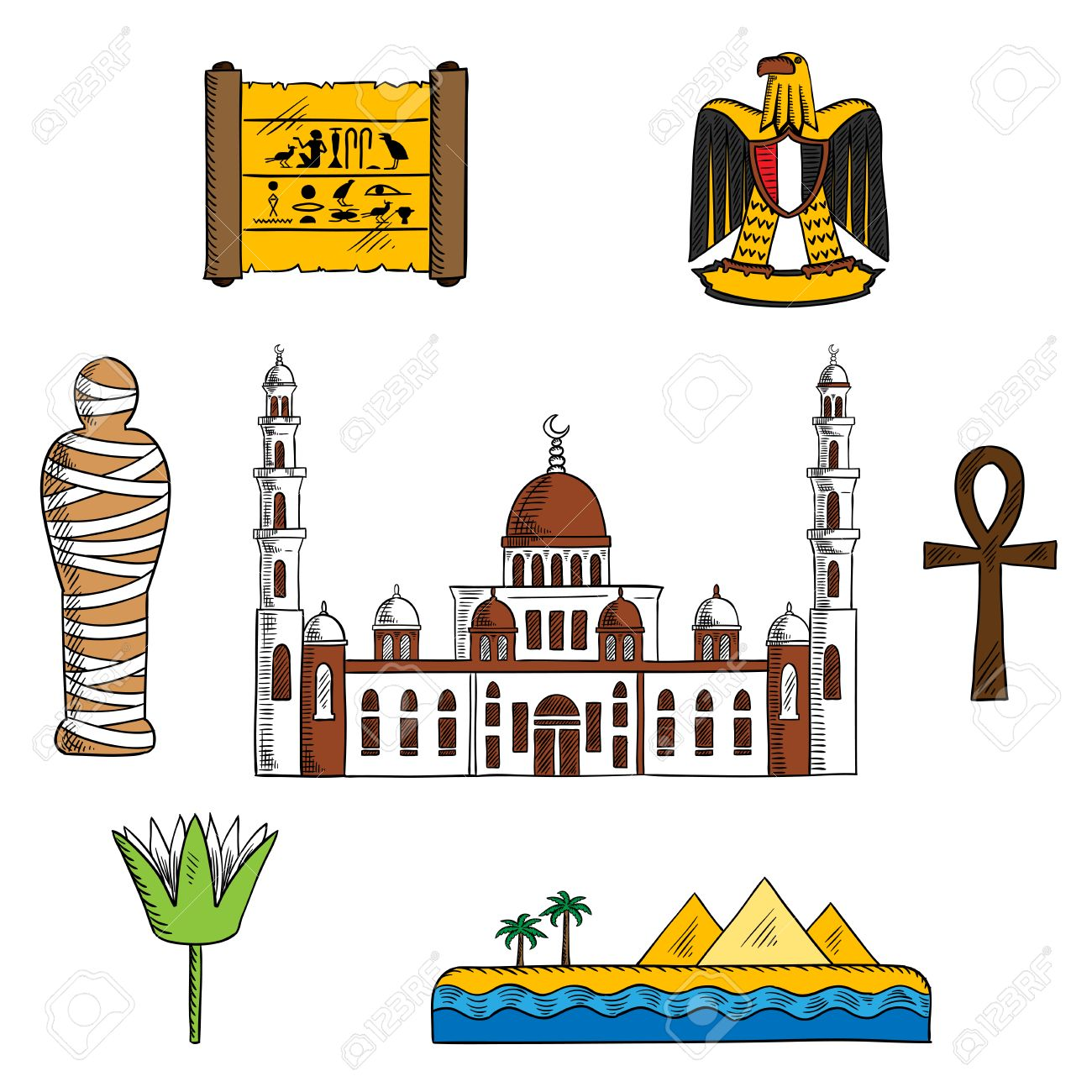 Ancient and modern egypt symbols for travel design with pharaoh ancient and modern egypt symbols for travel design with pharaoh mummy and giza pyramids papyrus mightylinksfo