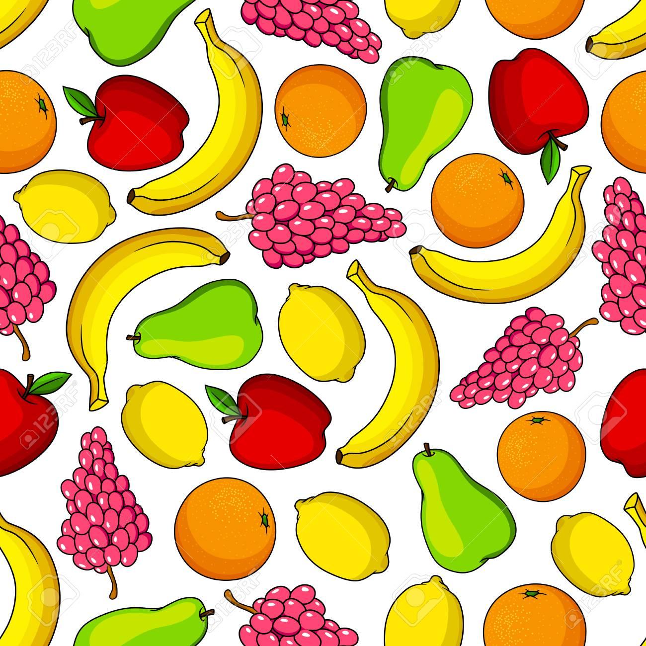Tropische Früchte Nahtlose Muster Mit Bananen Und Orangen, Zitronen ...