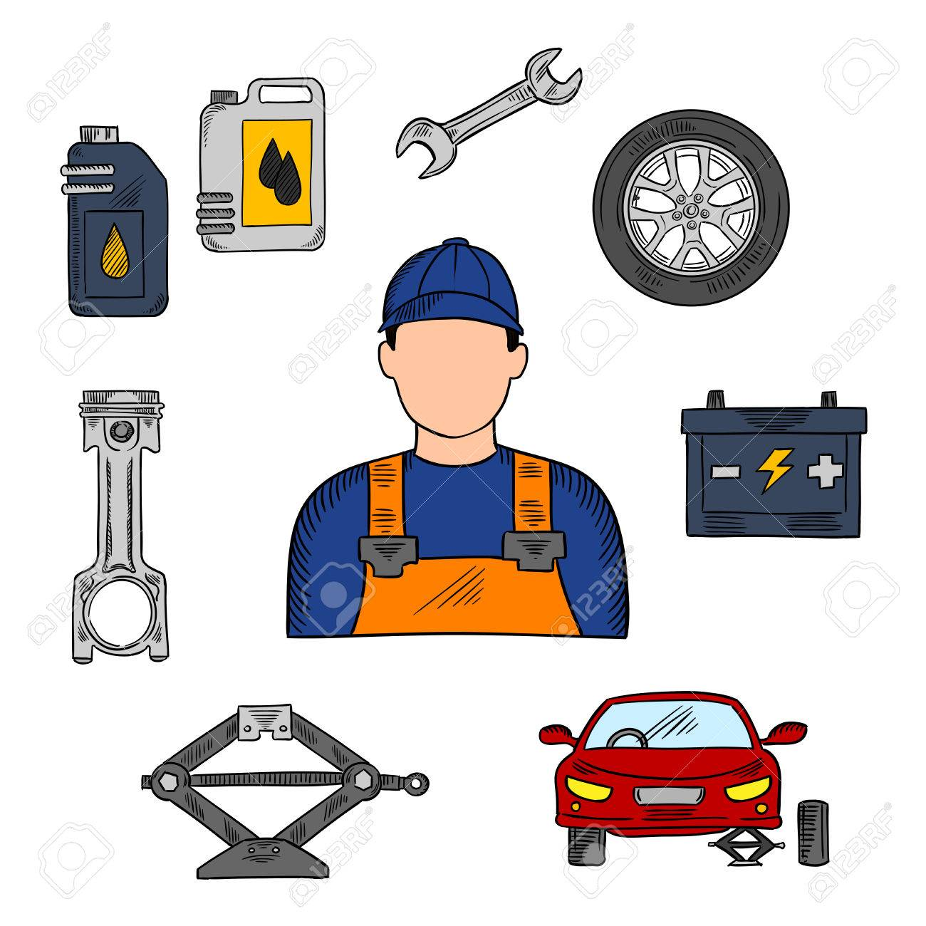 Mechanic In Blue Uniform With Symbols Of Car On Jack Wheel And