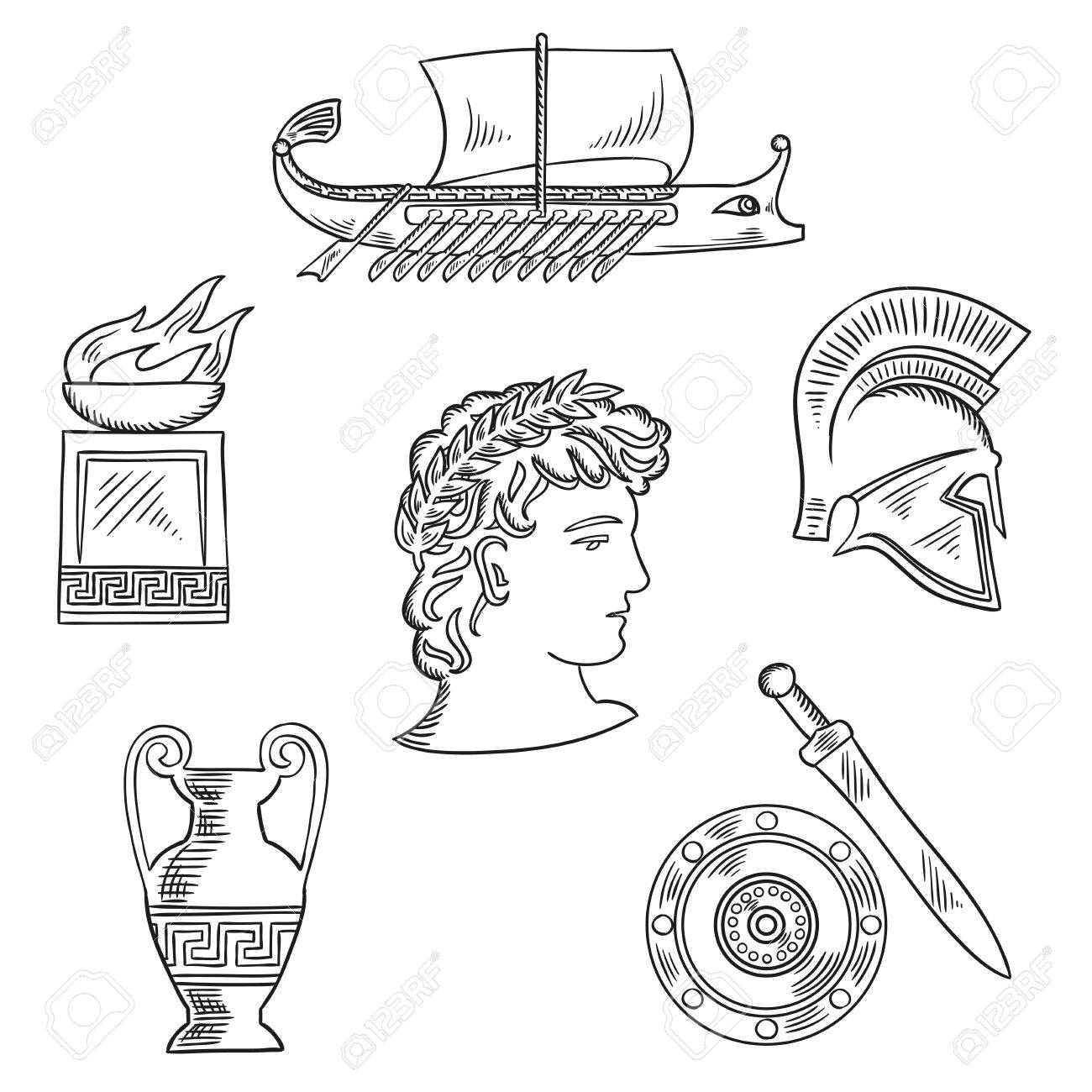 Historical and cultural symbols of ancient greece with emperor historical and cultural symbols of ancient greece with emperor in laurel wreath surrounded by sketches biocorpaavc Image collections