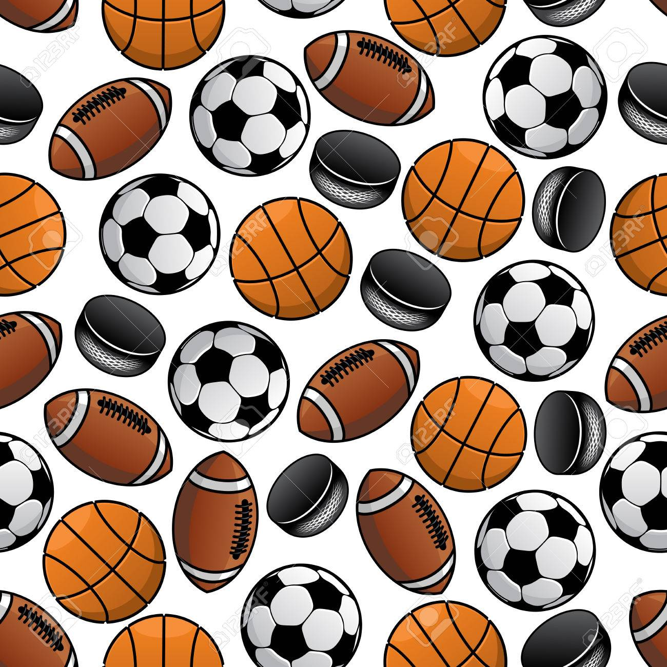 seamless pattern of soccer american football and basketball