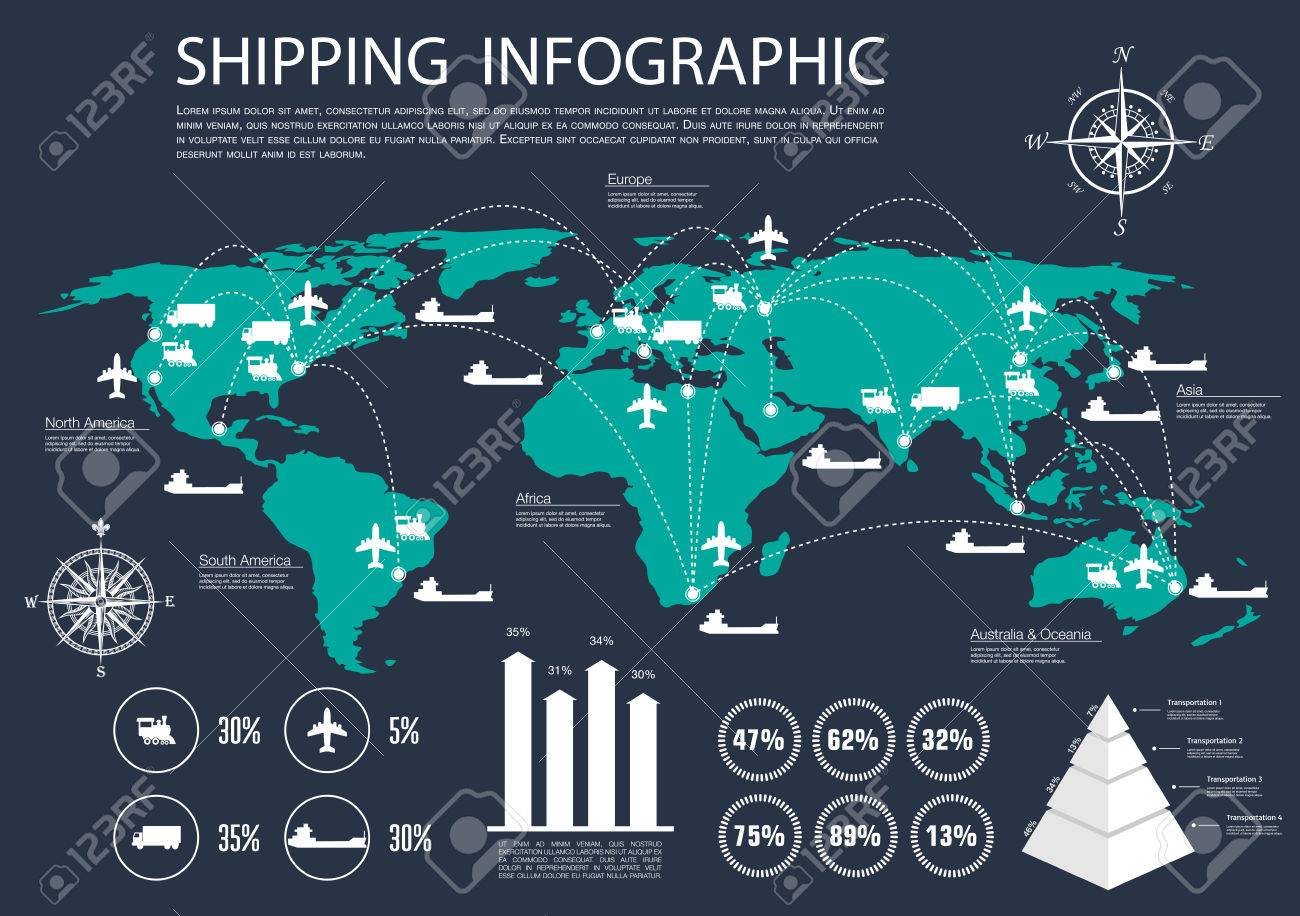 International logistics delivery and shipping service infographics international logistics delivery and shipping service infographics design with world map and delivery routes of gumiabroncs Choice Image
