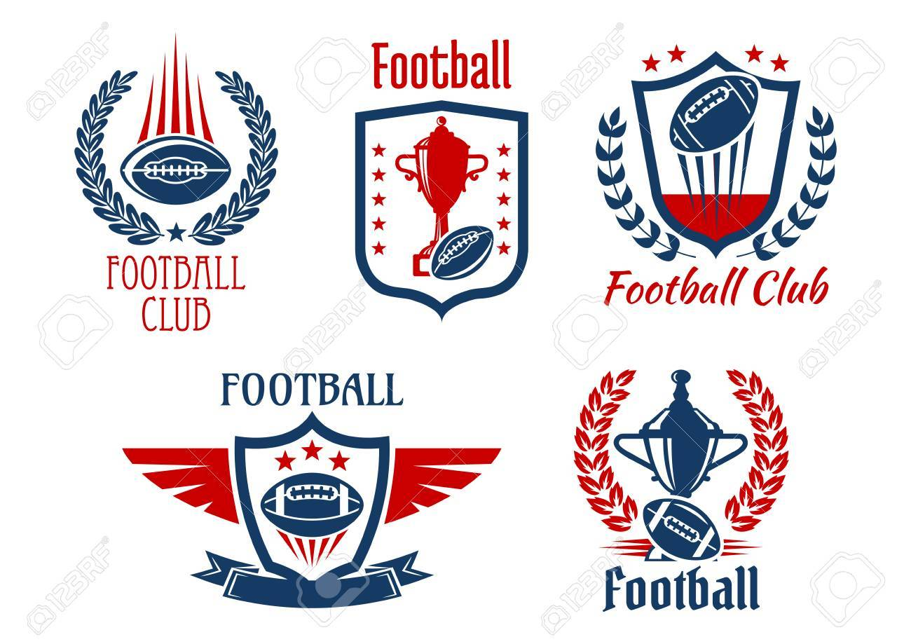 American football sport heraldic symbols and icons for sporting american football sport heraldic symbols and icons for sporting club or team design with trophy prizes biocorpaavc Choice Image