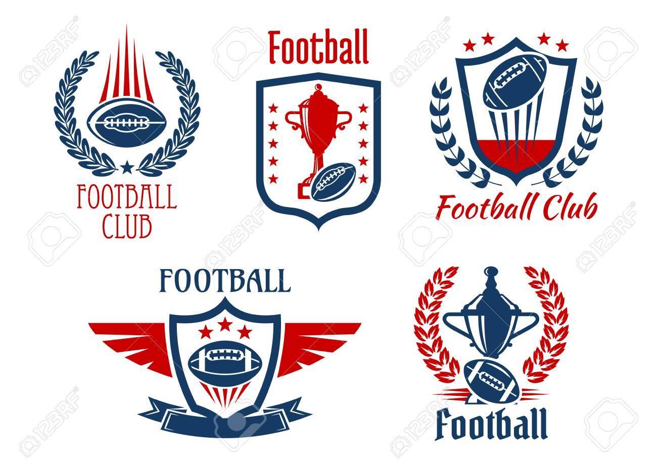 Deporte De Fútbol Americano Símbolos Heráldicos E Iconos Para El ...