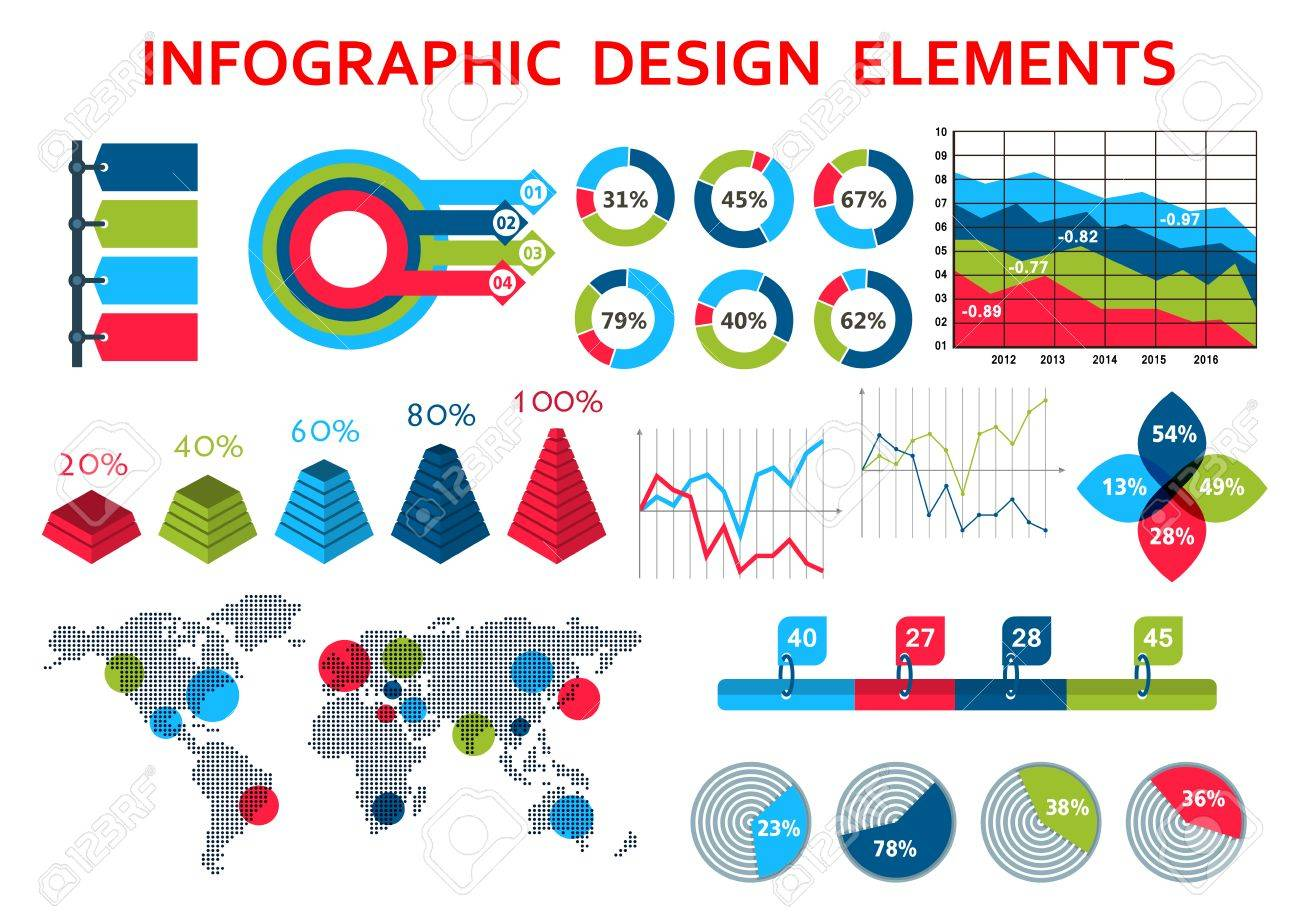 Infographic design elements with world map and circle pointers infographic design elements with world map and circle pointers pie charts and time series graphs gumiabroncs Gallery