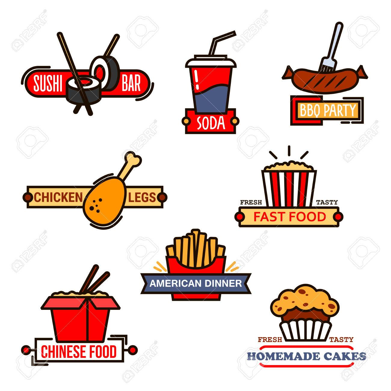 Fast Food Cafe And Sushi Bar Grill Menu And Bakery Symbols With