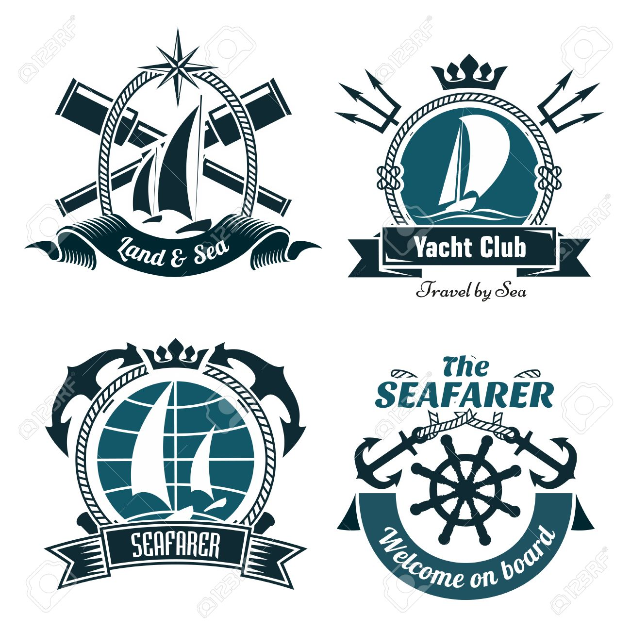 Yacht club or sailing sport retro symbols and icons with sailing
