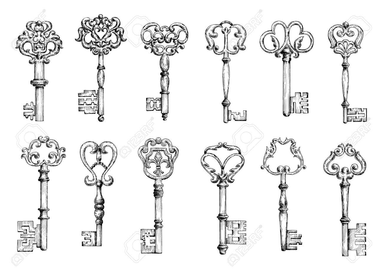 schizzi d'epoca di chiavi della porta medievali ornati da motivi ... - Decorativo Della Porta Di Sicurezza