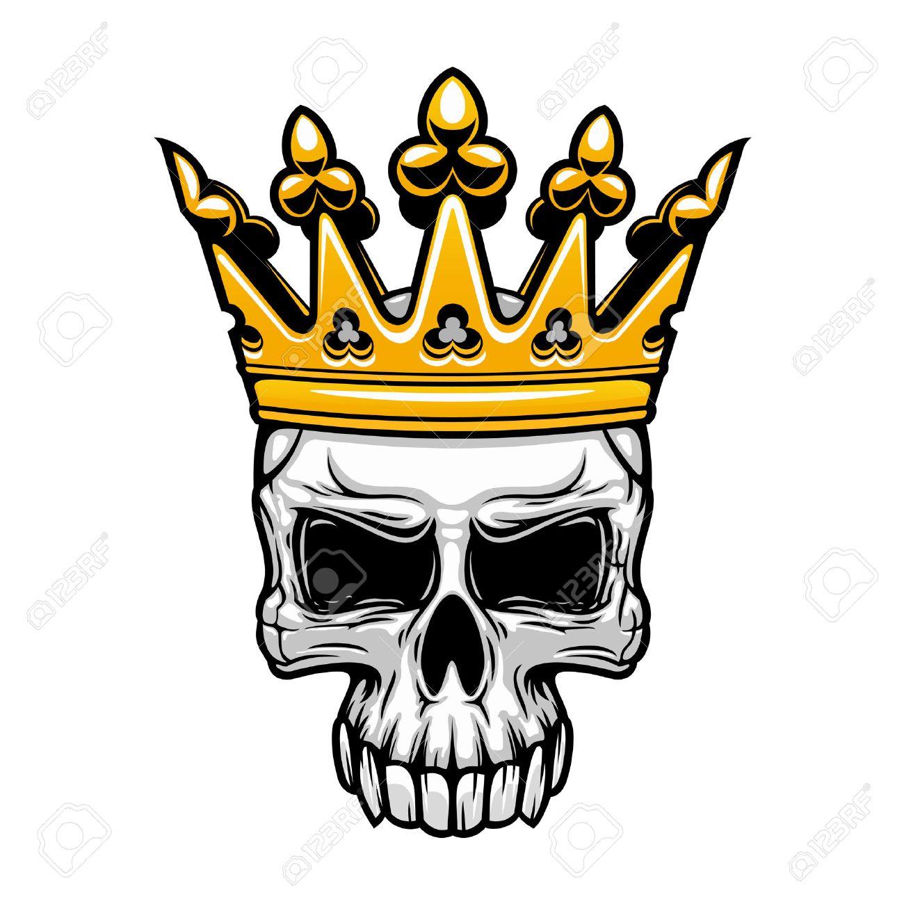 Símbolo De La Calavera Coronada Rey De Cráneo Humano Espeluznante