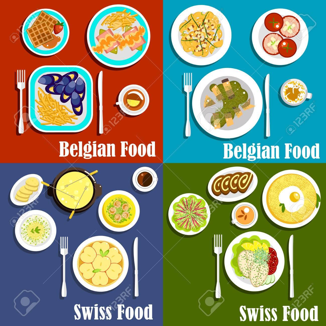 Standard Bild   Traditionelle Kartoffeln, Fisch Und Käse Gerichte Der  Schweizer Und Belgische Küche Mit Beliebten Desserts.