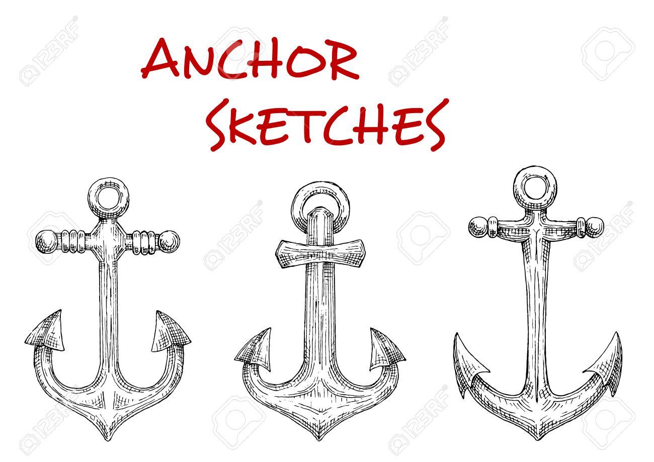 Old fashioned nautical anchors with decorative stock rods sketch old fashioned nautical anchors with decorative stock rods sketch style navy heraldic symbol buycottarizona