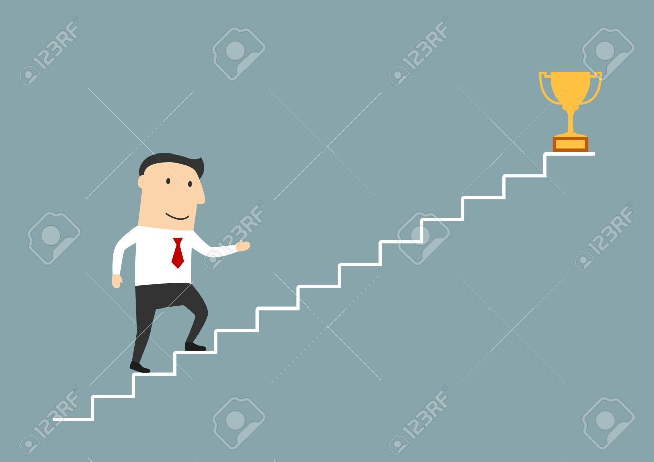 Successful Cartoon Smiling Businessman Walking Up Stairs To Golden ...