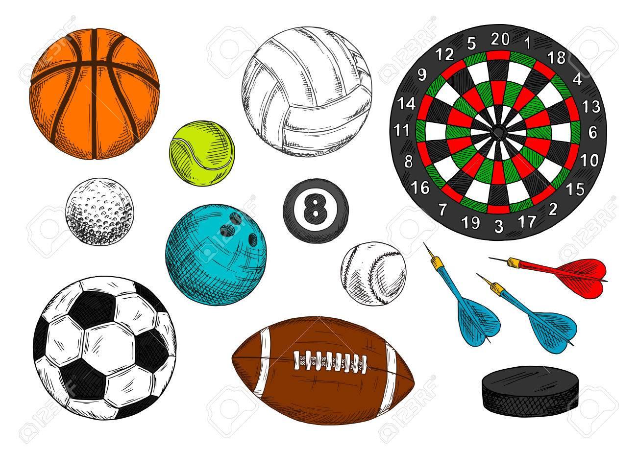 Bosquejo Dibujos Coloridos De Artículos Deportivos Con Las Bolas Para El  Fútbol O Fútbol c8e41b07ea64b