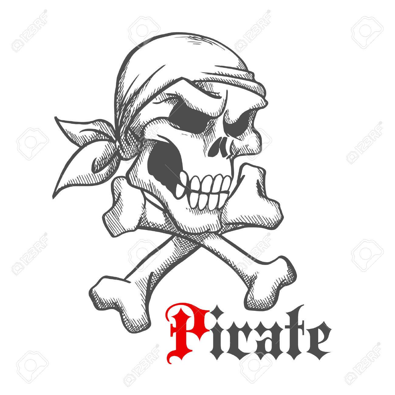Pirate captain skull with crossbones vintage sketch illustration banco de imagens pirate captain skull with crossbones vintage sketch illustration with angry human skeleton head in bandana use as jolly roger ccuart Images
