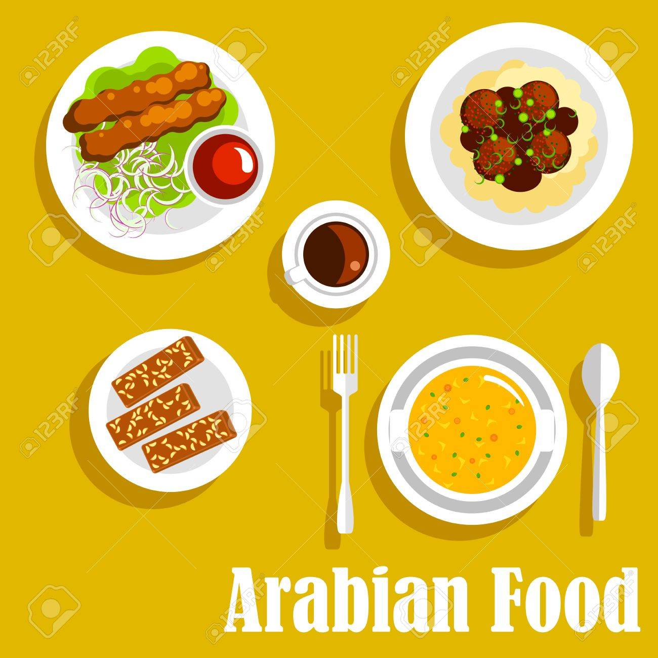 Auténtica árabe Platos De Cocina Icono Con Símbolos Planas De Kebab ...
