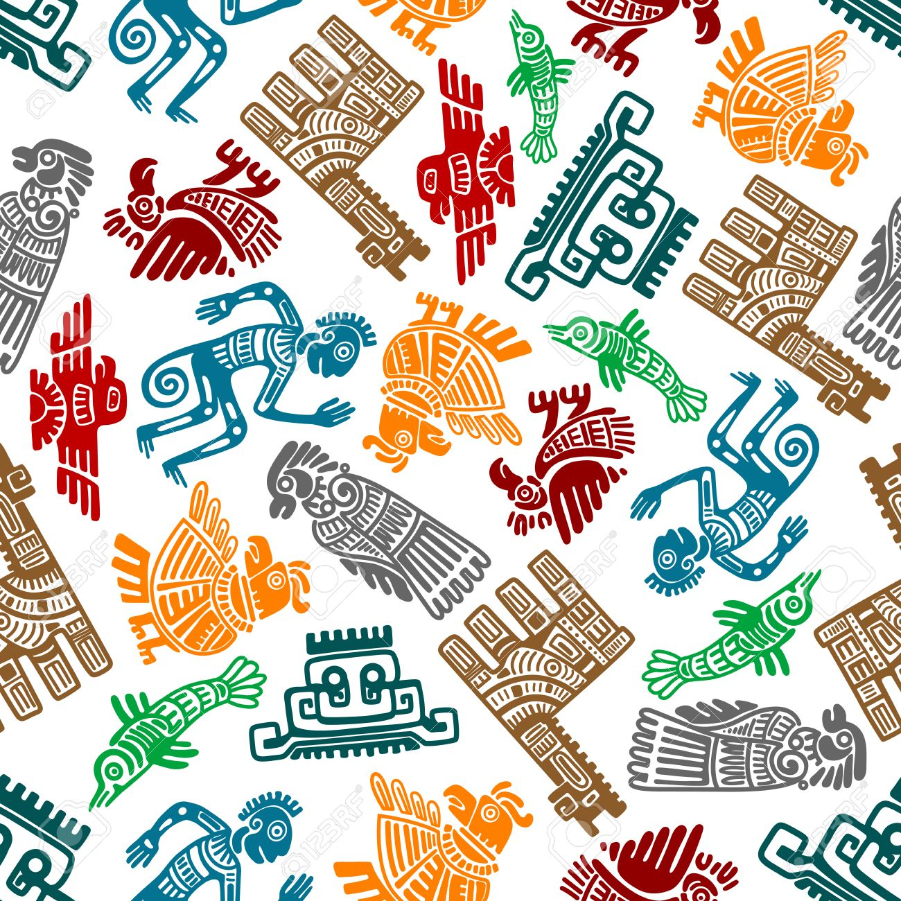 Seamless Mayan And Aztec Totems Pattern With Colorful Symbols Of