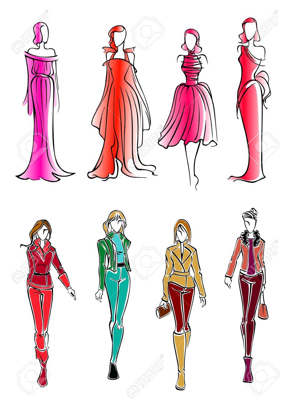 Siluetas De Colores De Boceto De Las Chicas De Moda Moderna El Uso De Ropa Todos Los Días Brillantes Y Vestidos De Noche Sin Mangas Formales Utilice
