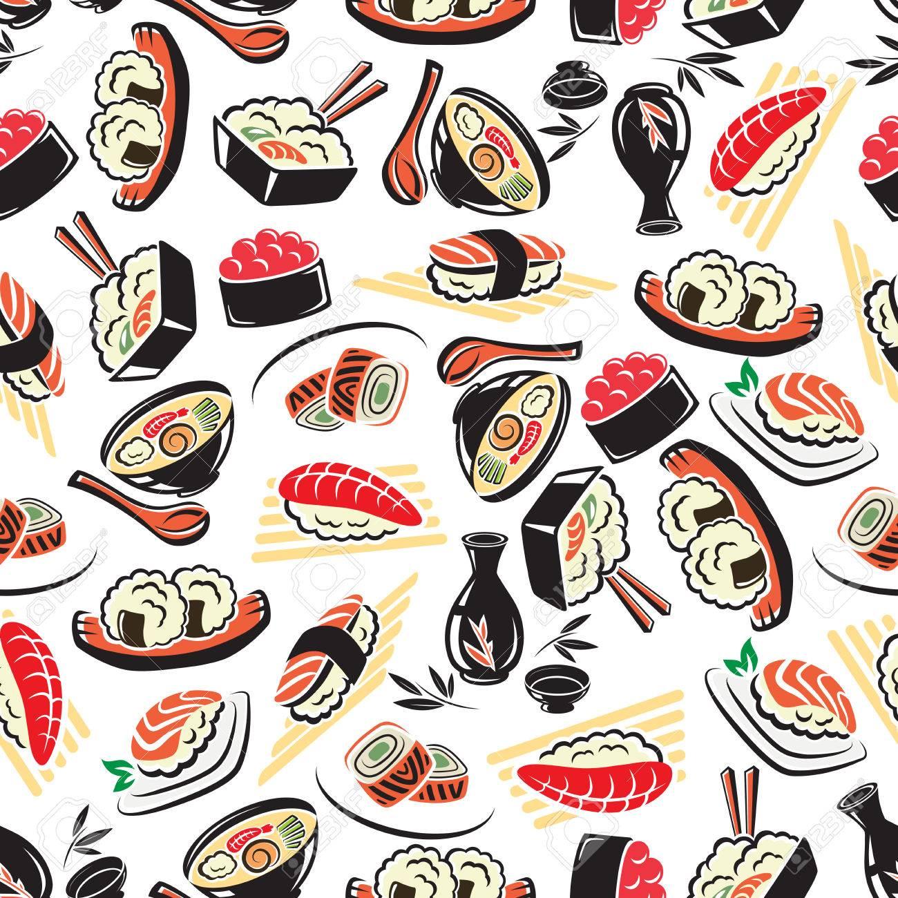 Authentische Japanische Küche Nahtlose Muster Auf Weißem Hintergrund ...